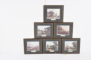 Set of Six Framed Vintage John Constable Art Prints with Plaques (6)