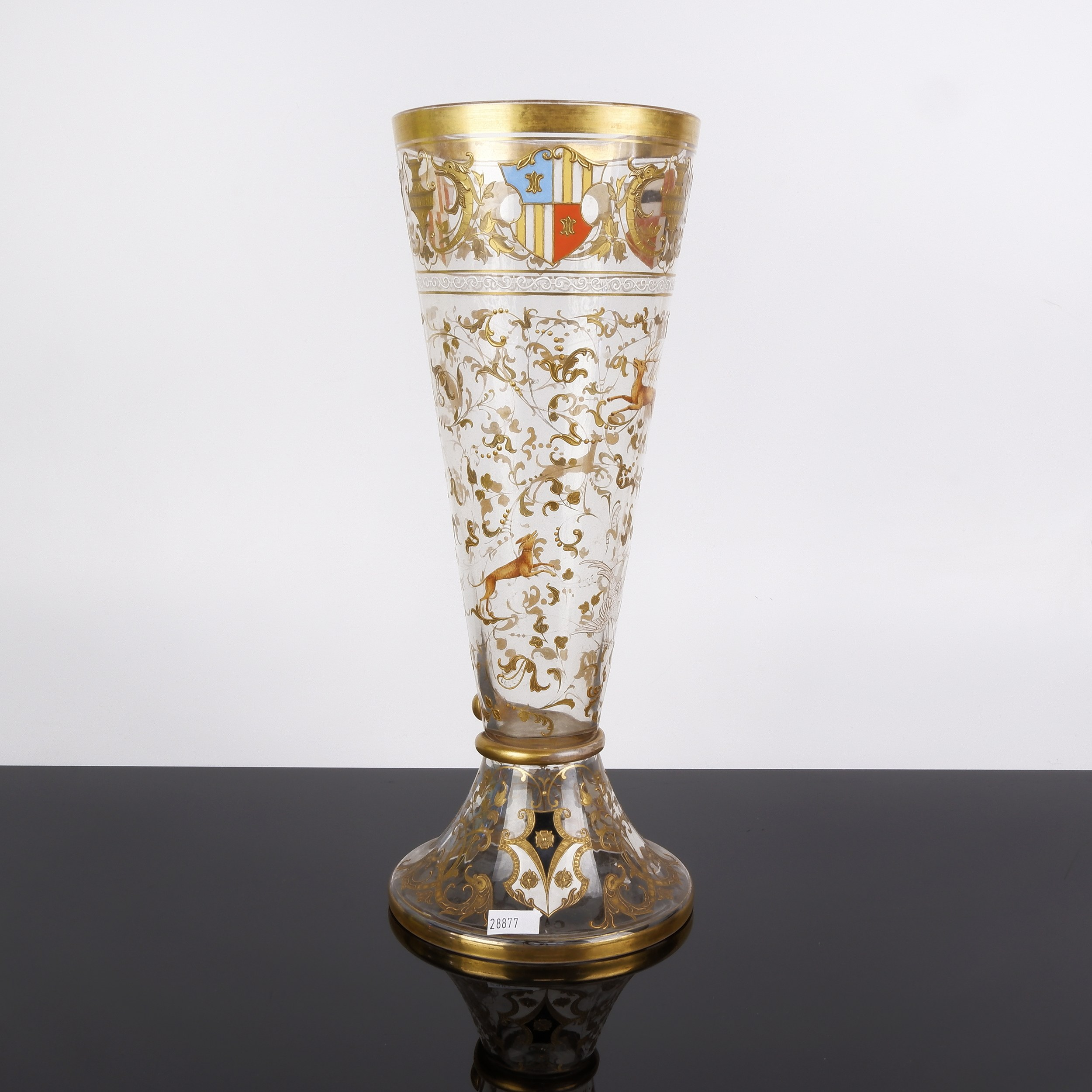 'Impressive 19th Century Enamelled and Gilded Glass Armorial Beaker or Celery Vase'