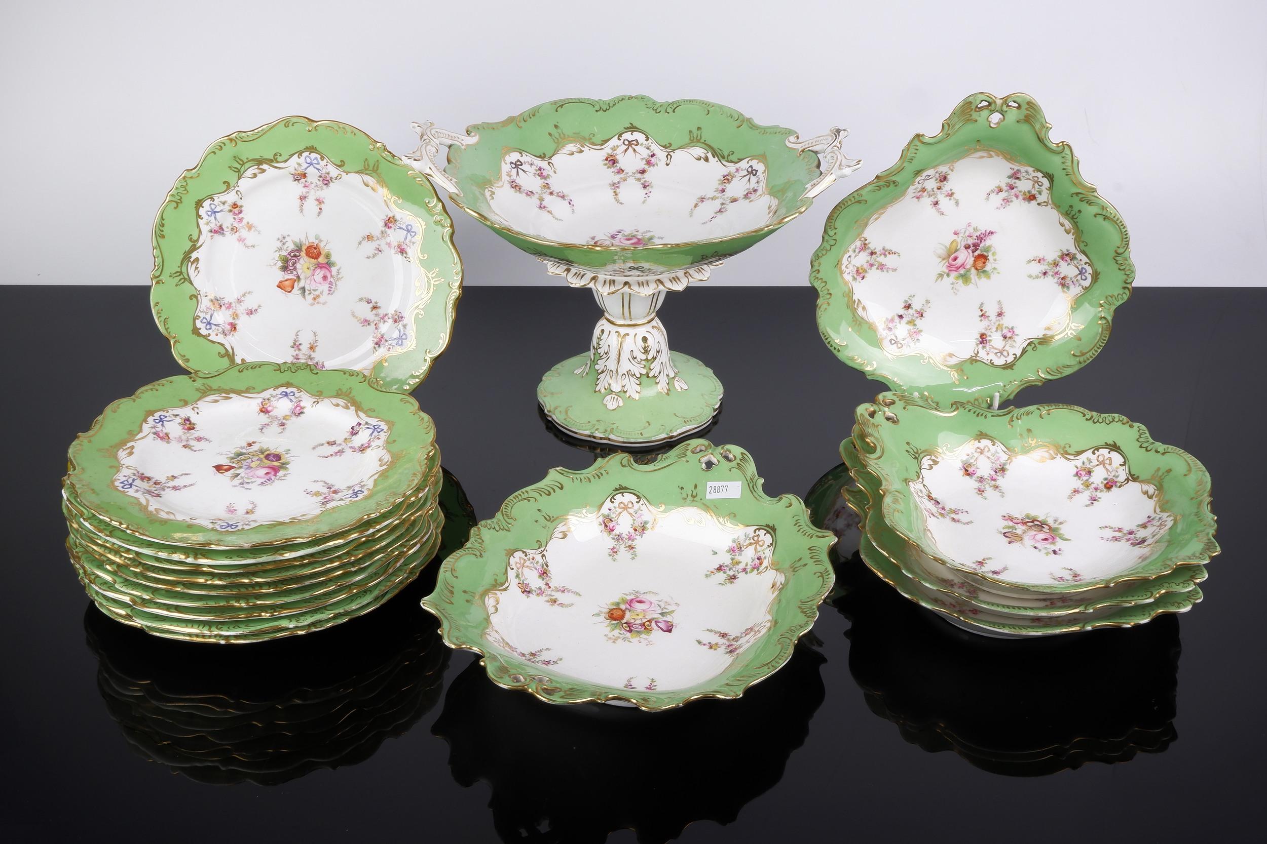 'Rockingham Porcelain Hand Painted Dessert Service, Circa 1830'