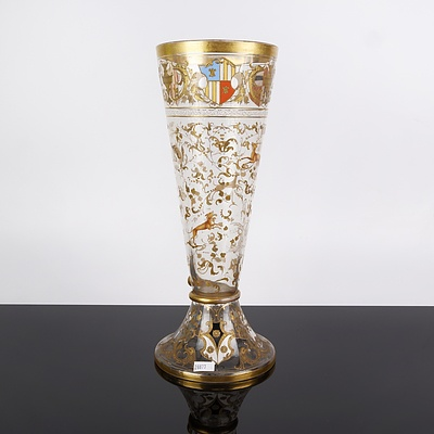 Impressive 19th Century Enamelled and Gilded Glass Armorial Beaker or Celery Vase, Possibly Moser