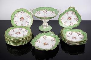 Rockingham Porcelain Hand Painted Dessert Service, Circa 1830
