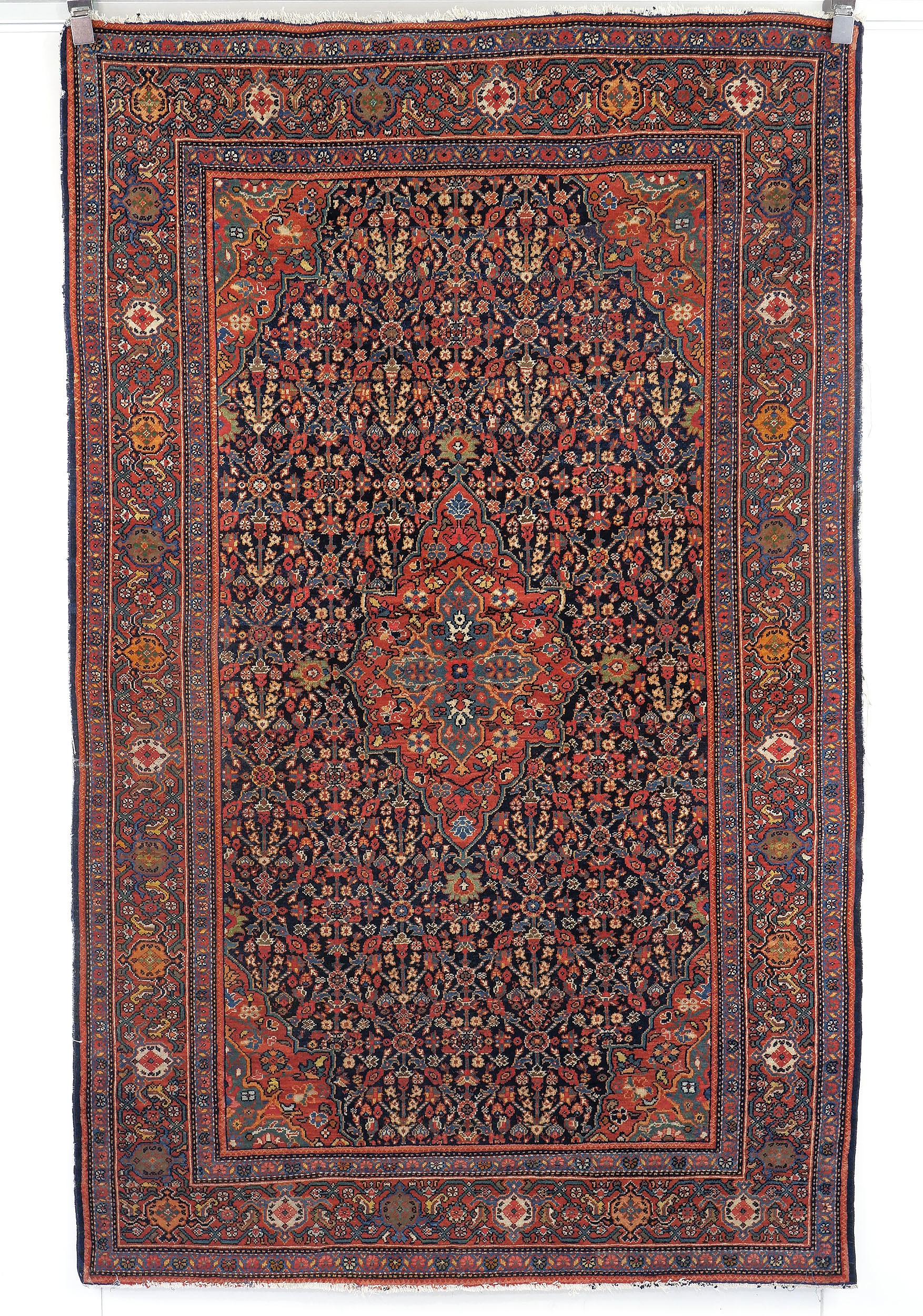 'Antique Finely Knotted Wool Pile Persian Mahal Rug Early 20th Century'