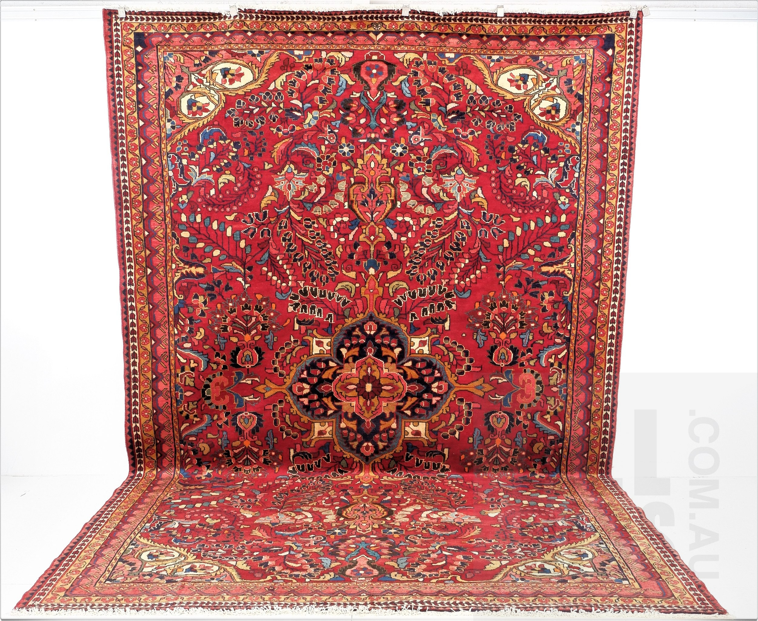 'Large Vintage Persian Lilian Hand Knotted Wool Pile Carpet '