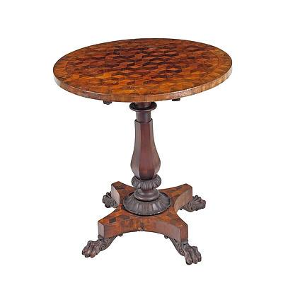 George IV Tilt-Top Wine Table of Australian Interest the Specimen Timbers Marquetry Top Including Botany Bay Beefwood (Casuarina) Circa 1825-30