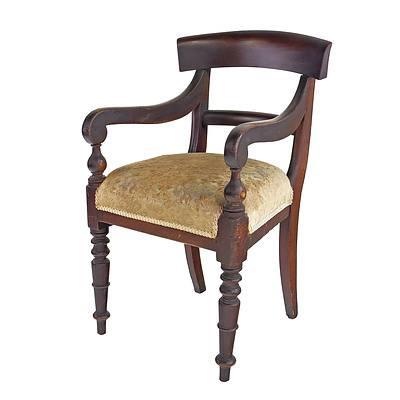 Australian Cedar Scrolled Arm Carver Chair, 3rd Quarter of the 19th Century
