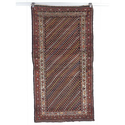 Antique Caucasian Kuba Chichi Hand Knotted Wool Pile Rug with Diagonal Rows of Palmettes Circa 1900