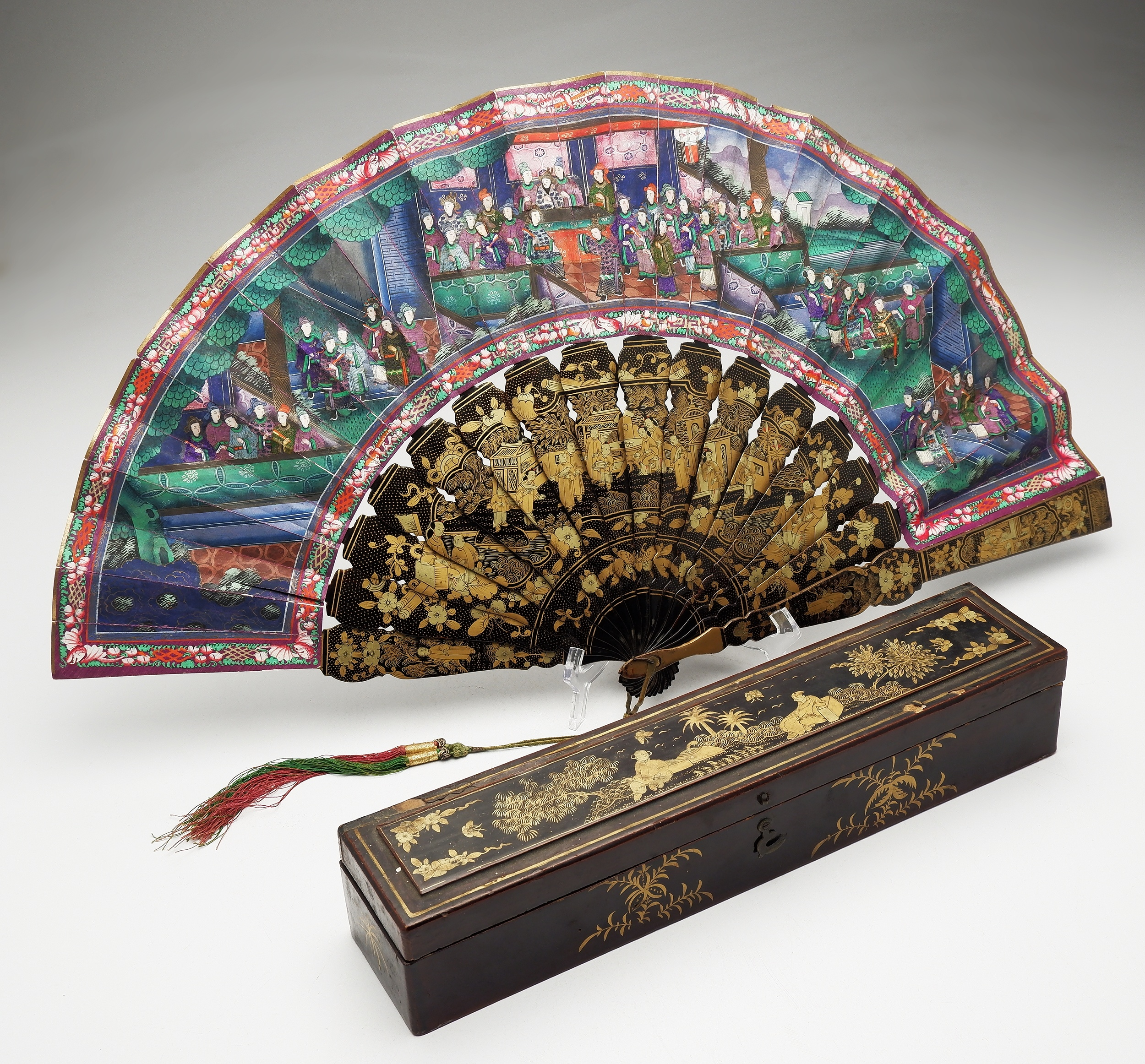 'Fine Chinese Export Lacquer and Ivory Embellished Brise Fan with Original Box Circa 1900'