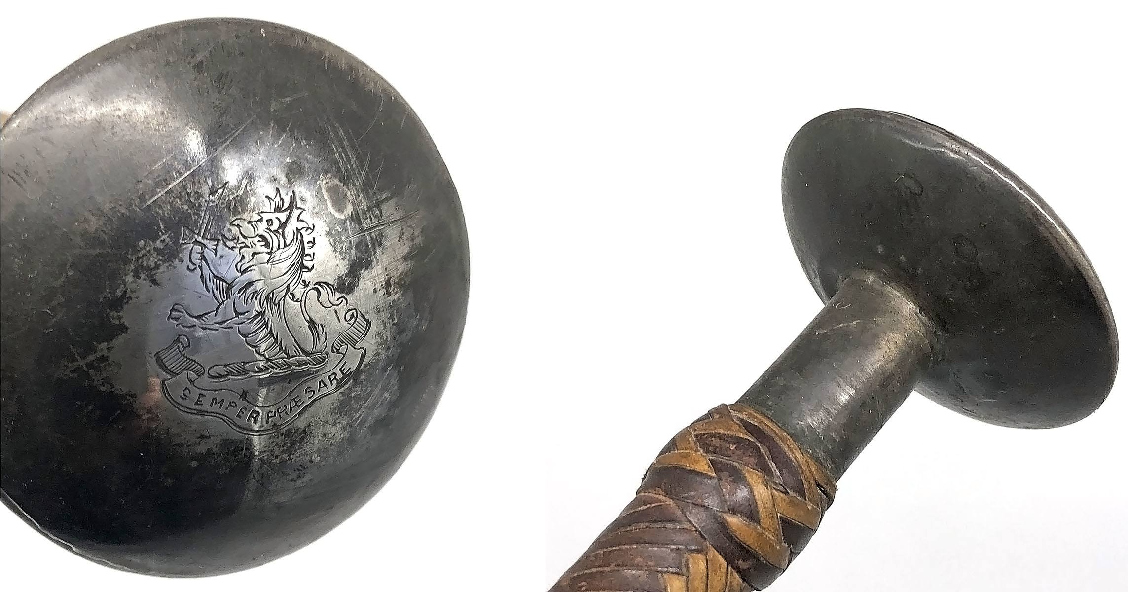 'Silver Topped Riding Crop - Provenance Henry Parkes (by Repute) Engraved SEMPER PRAESARE'