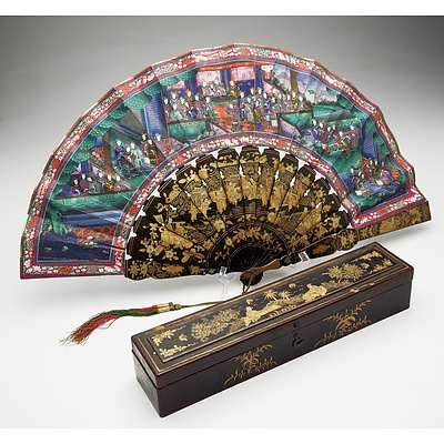 Fine Chinese Export Lacquer and Ivory Embellished Brise Fan with Original Box Circa 1900