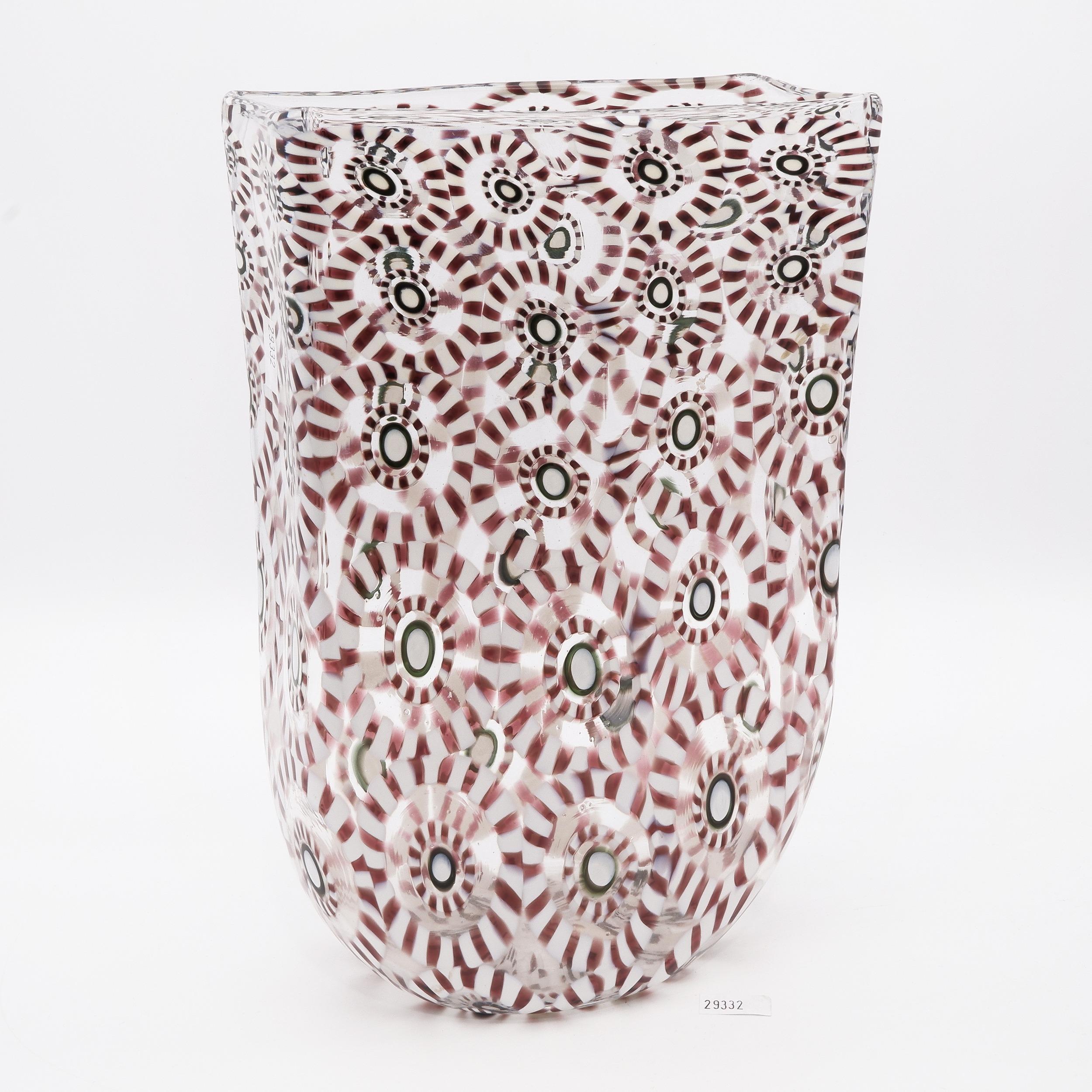 'Italian Murano Glass Fused Murrine Vase'