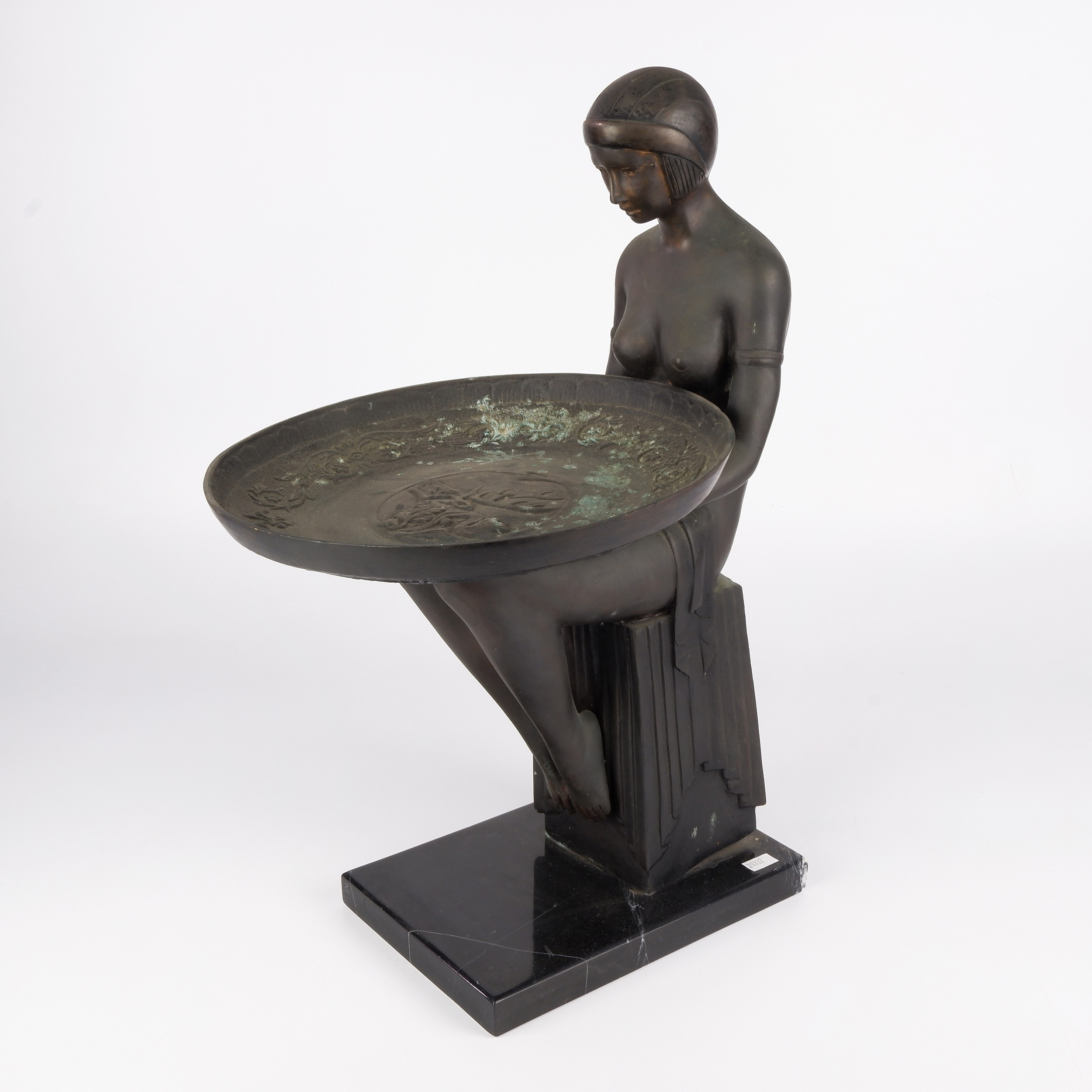 'Max Le Verrier (French 1891-1973) Attributed, Large Art Deco Bronze Figural Dish or Card Tray on a Black Marble Socle'