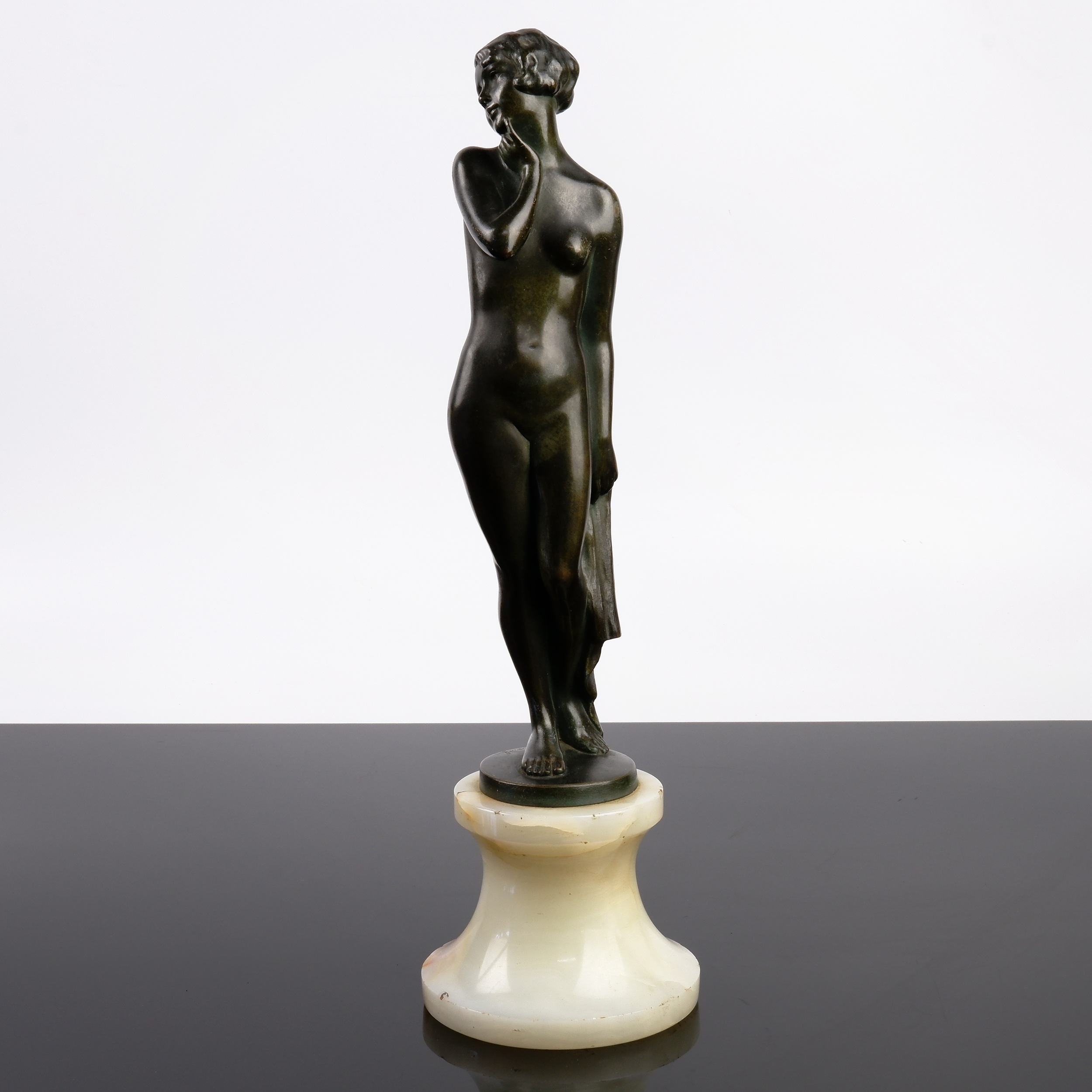 'Josef Lorenzl (Austrian 1892-1950) Naked Maiden, Bronze on an Onyx Socle'