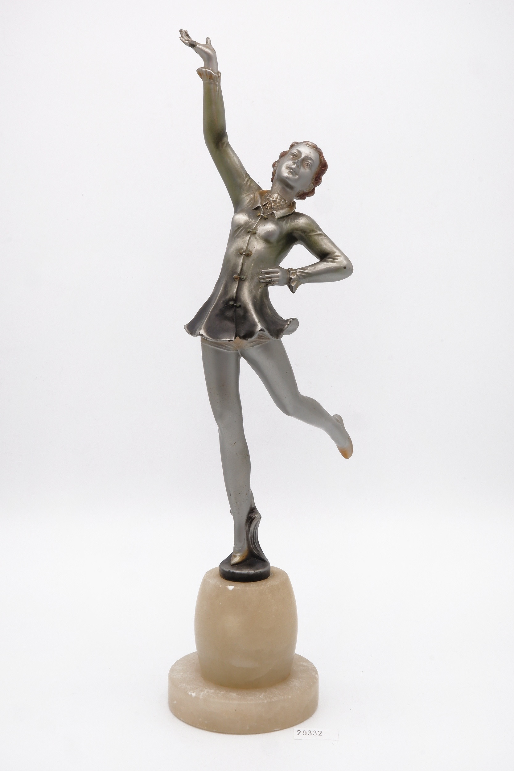 'Attributed to Josef Lorenzl (Austrian 1892-1950) Unsigned Art Deco Cold Painted Bronze Figure of a Dancer on an Alabaster Socle, Circa 1920s'