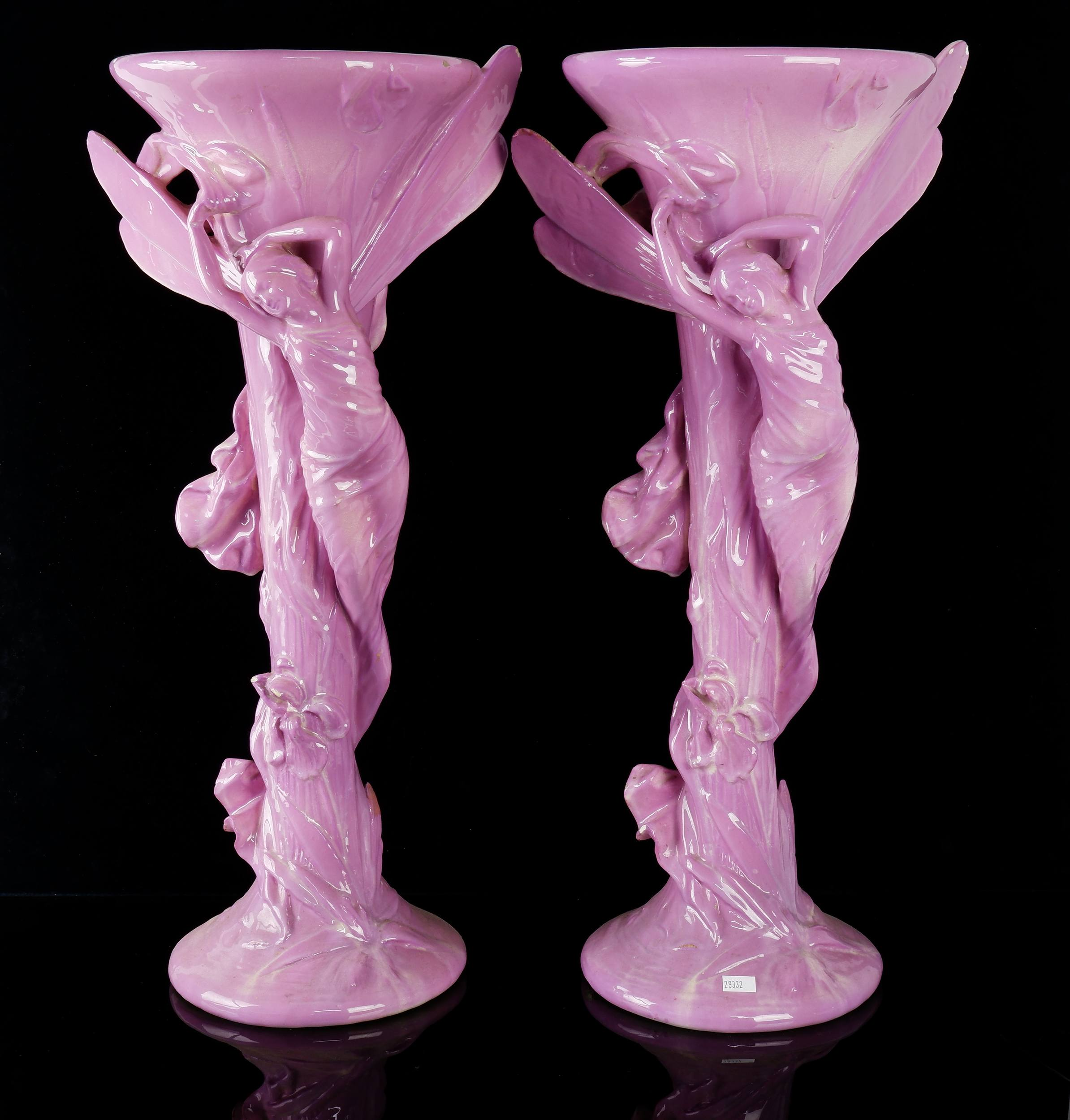'Impressive Pair of French Art Nouveau Majolica Glazed Figural Dragonfly Nymph Vases Circa 1900, Probably by Massier'