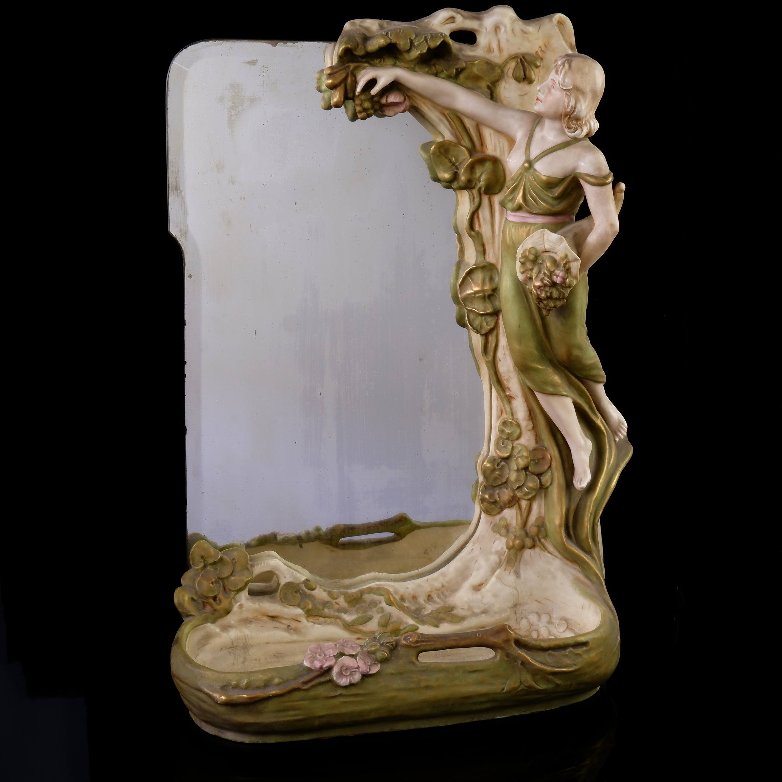 'Art Nouveau Royal Dux Figural Vanity Mirror, Early 20th Century'