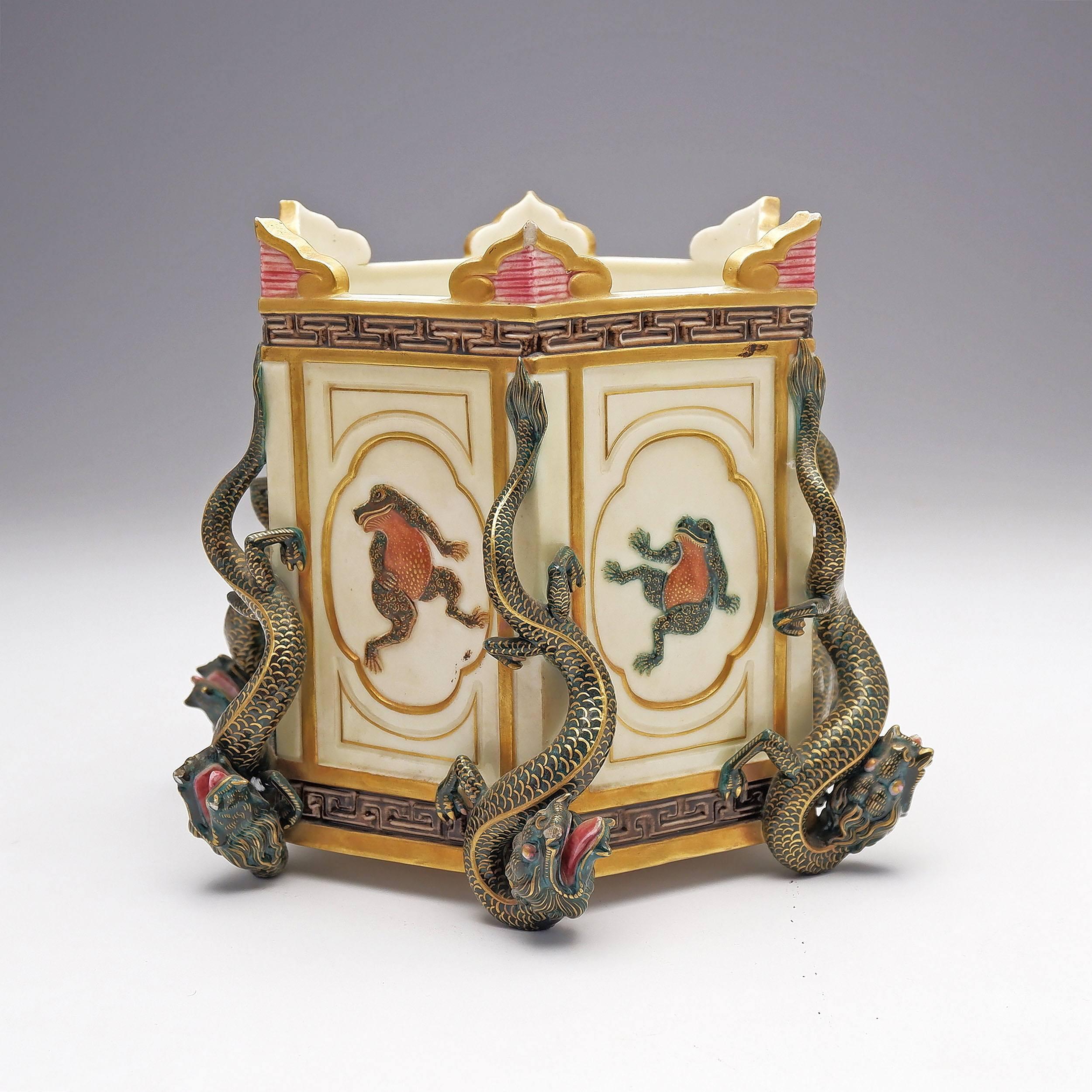 'Wonderful Royal Worcester Aesthetic Movement Porcelain Hexagonal Jardiniere, Circa 1874'