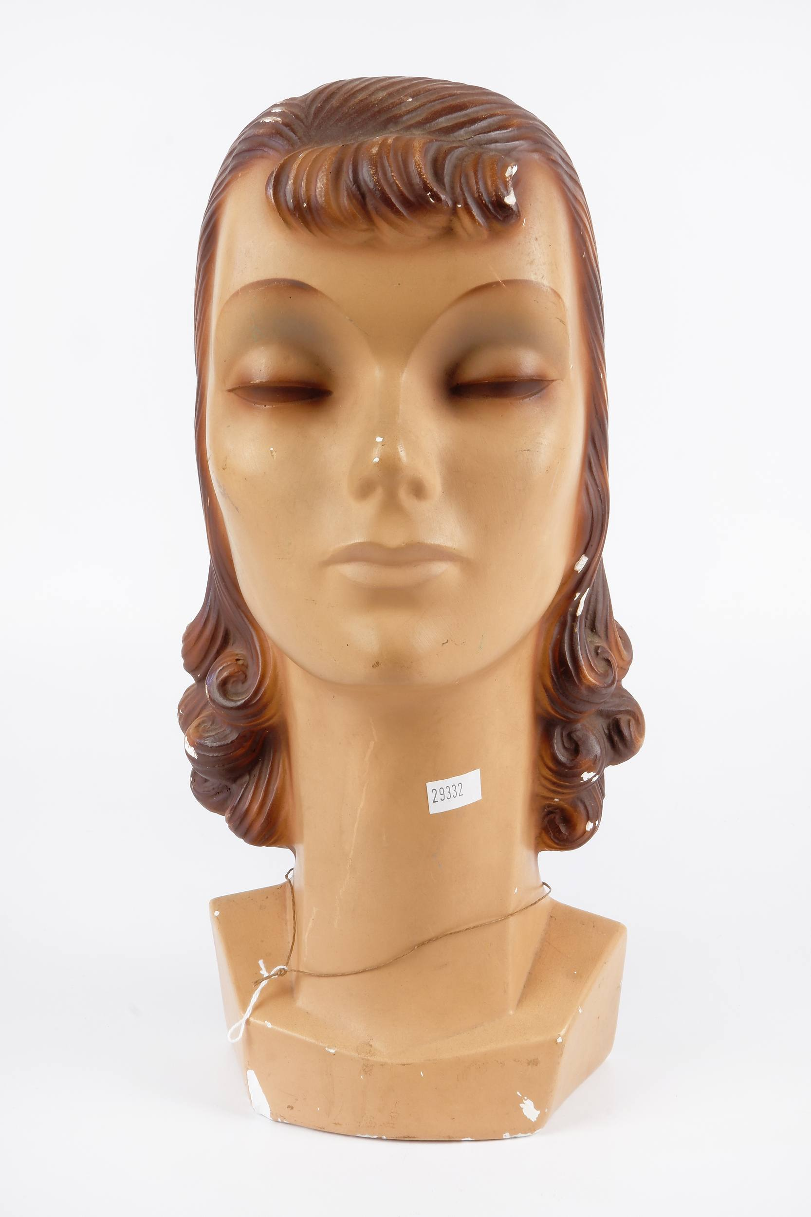 '1960s Painted Plaster Female Mannequin Head'