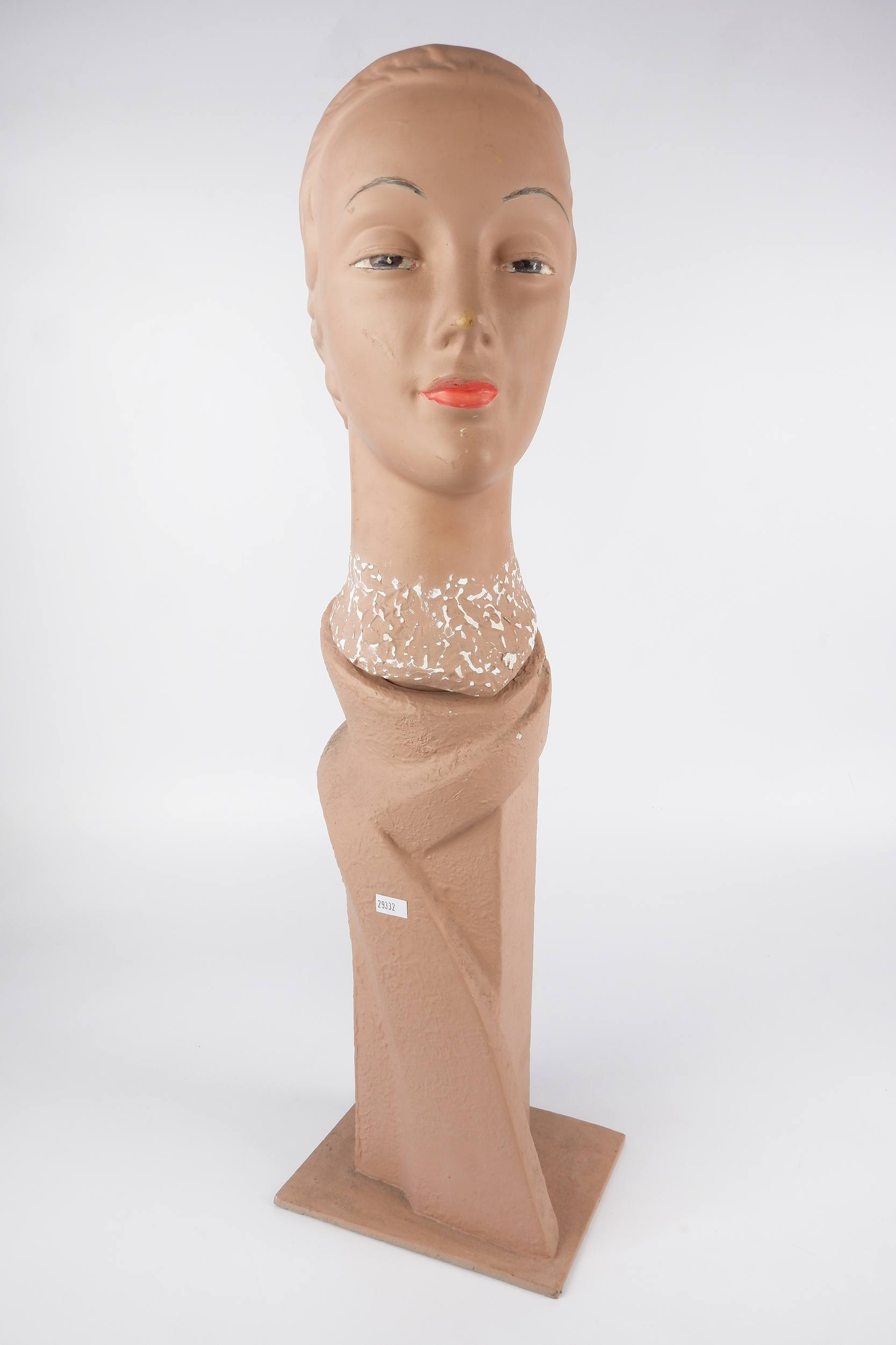'Art Deco Painted Plaster Female Mannequin Head, Circa 1940s'