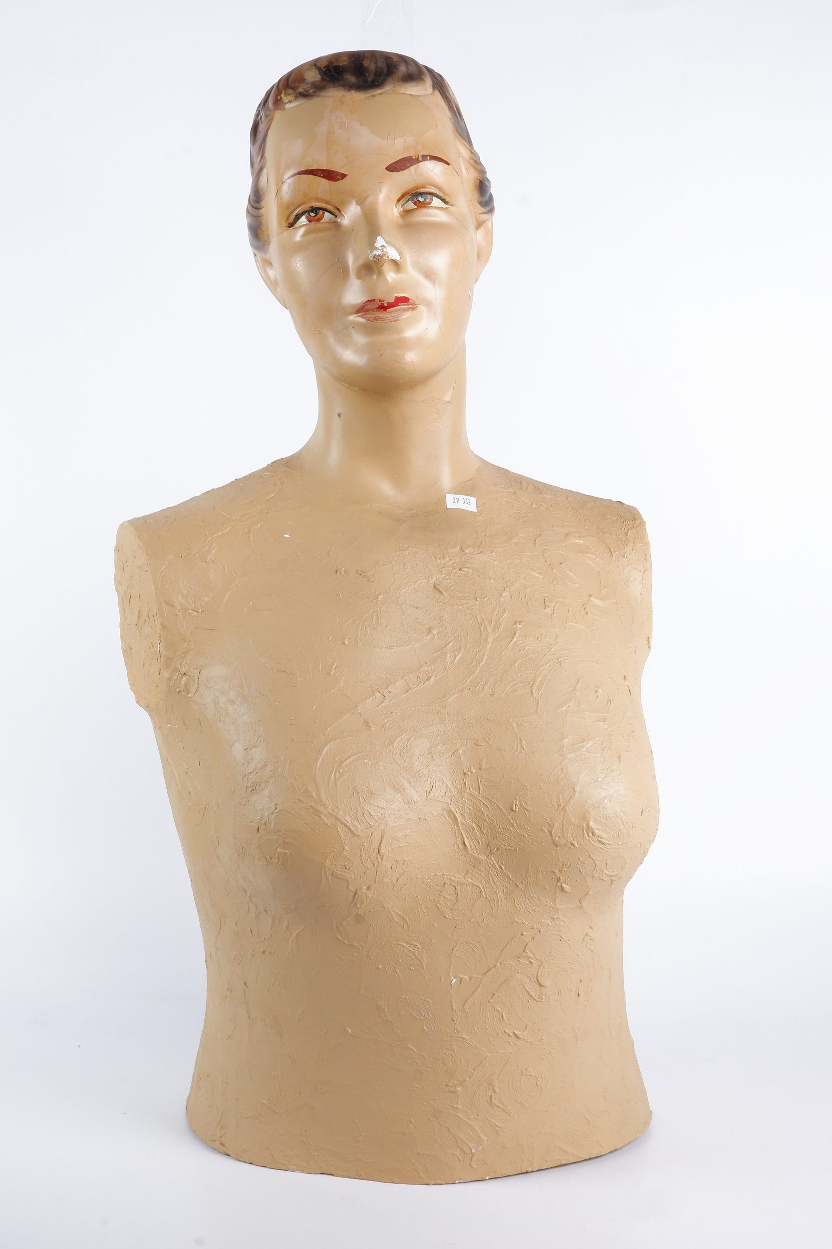 '1960s Painted Plaster Female Mannequin Torso'