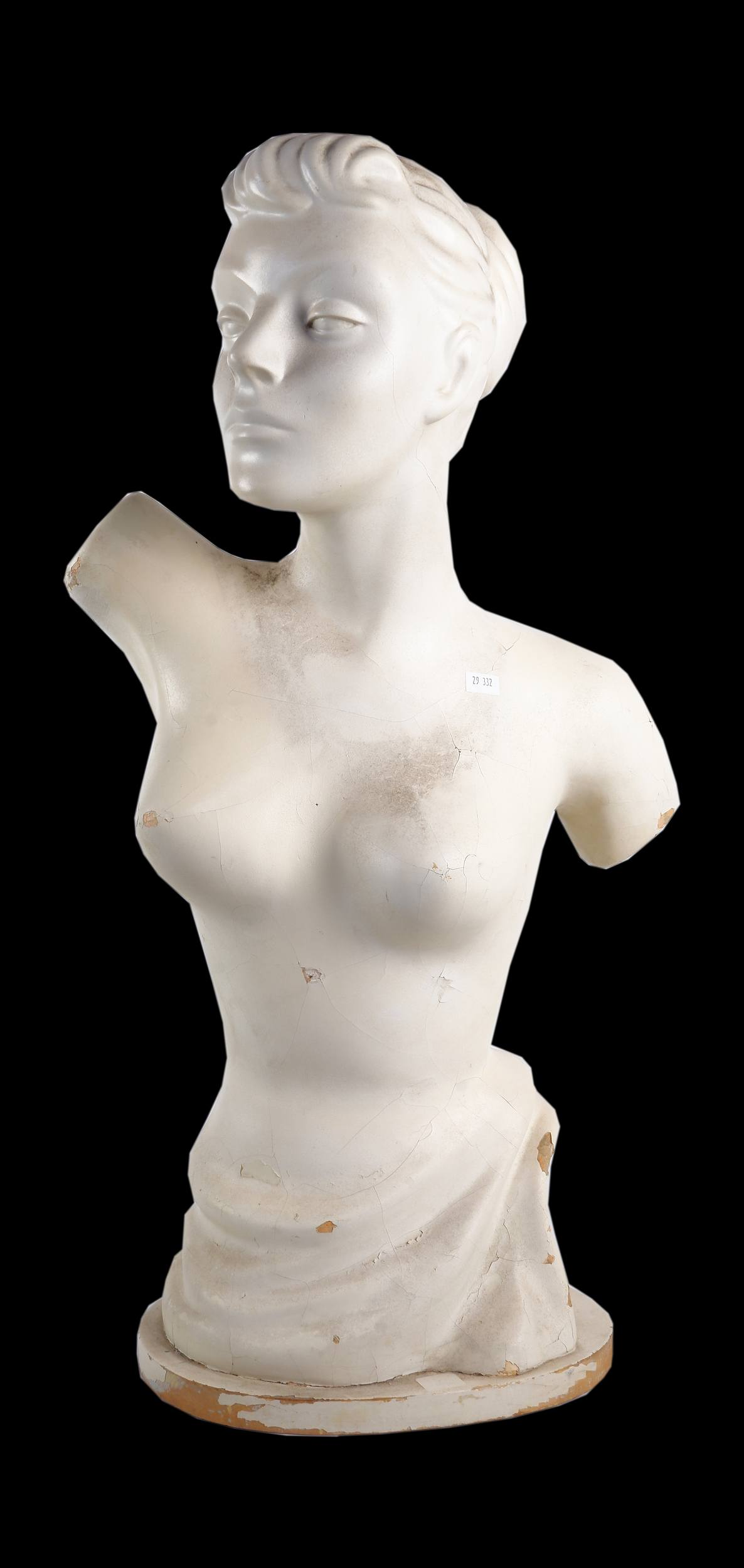 '1960s White Painted Plaster Female Mannequin Torso'