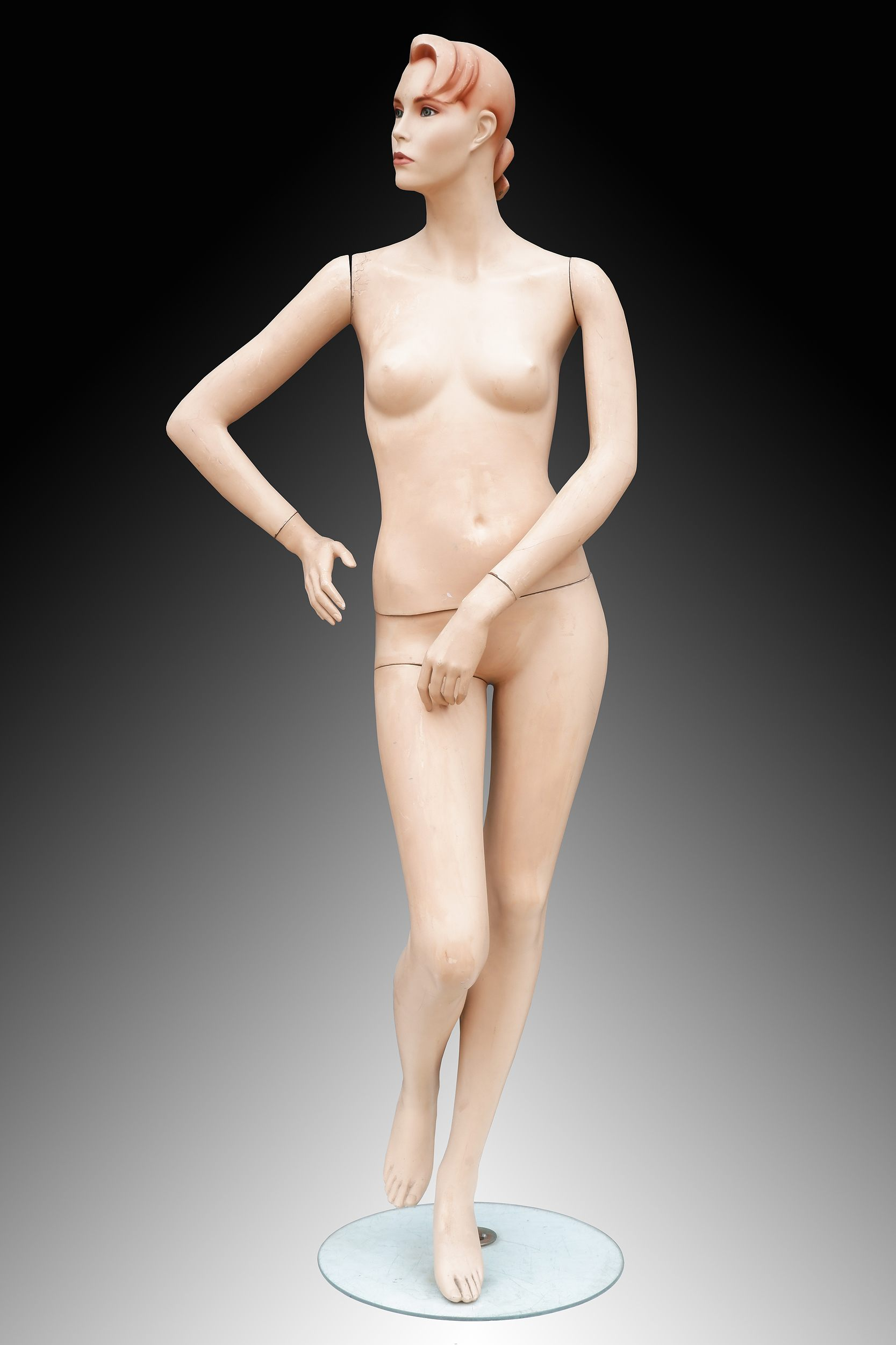 'Fabulous Painted Plaster Life Size Female Mannequin, Circa 1940-1950s'