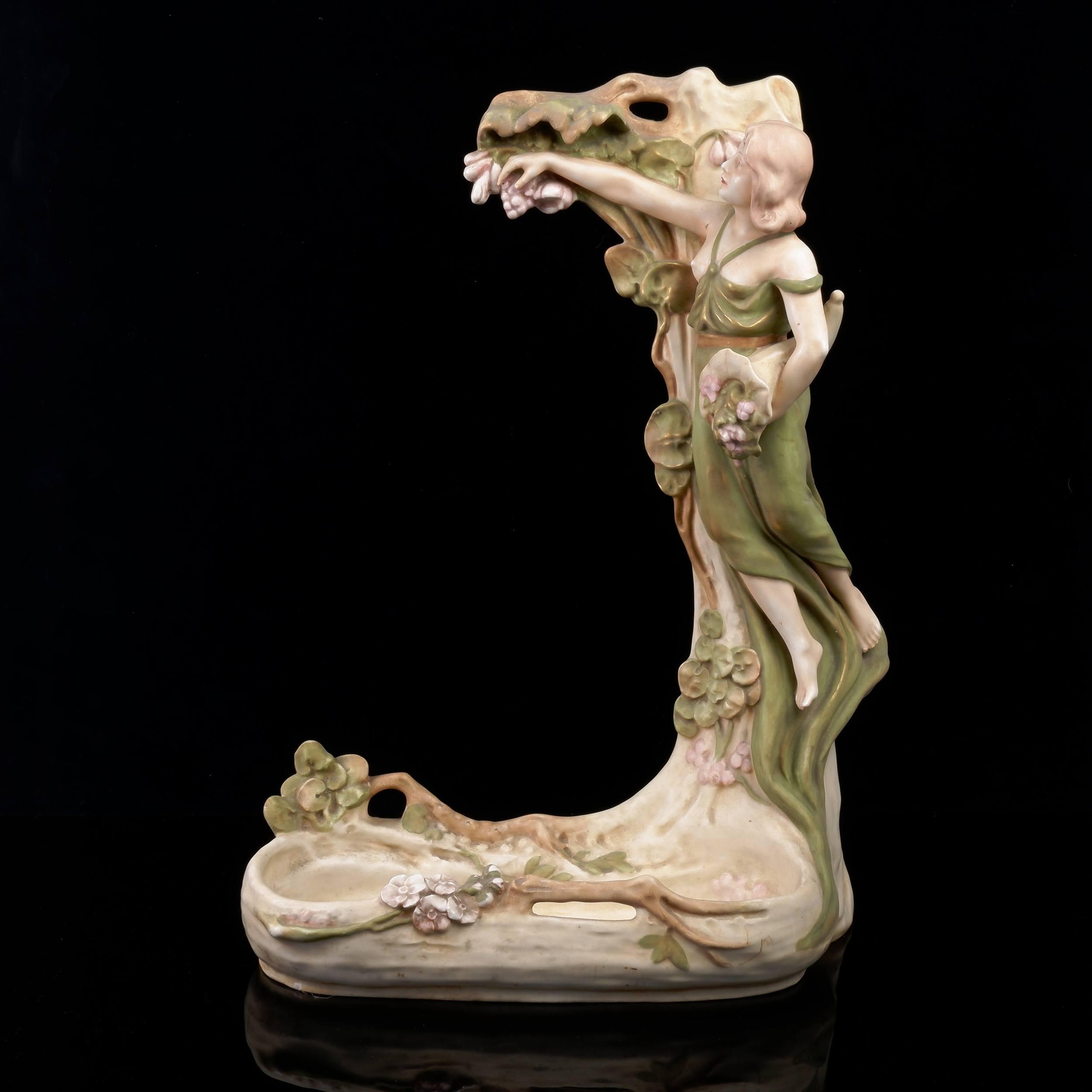' Art Nouveau Royal Dux Figural Vanity Mirror Base, Early 20th Century '