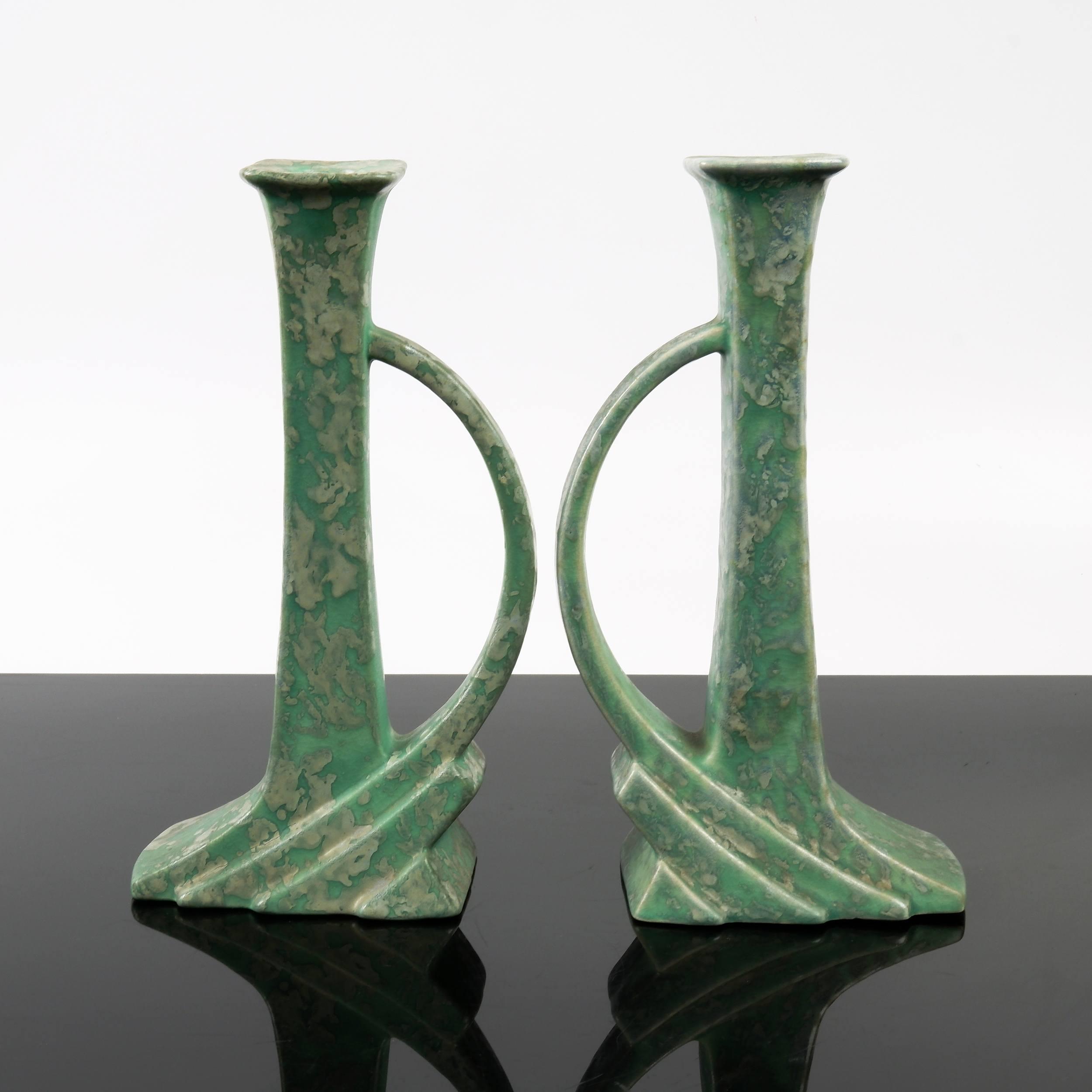'Pair of Art Deco Green Salt Glazed Ceramic Candlesticks, Probably Pierrefonds'