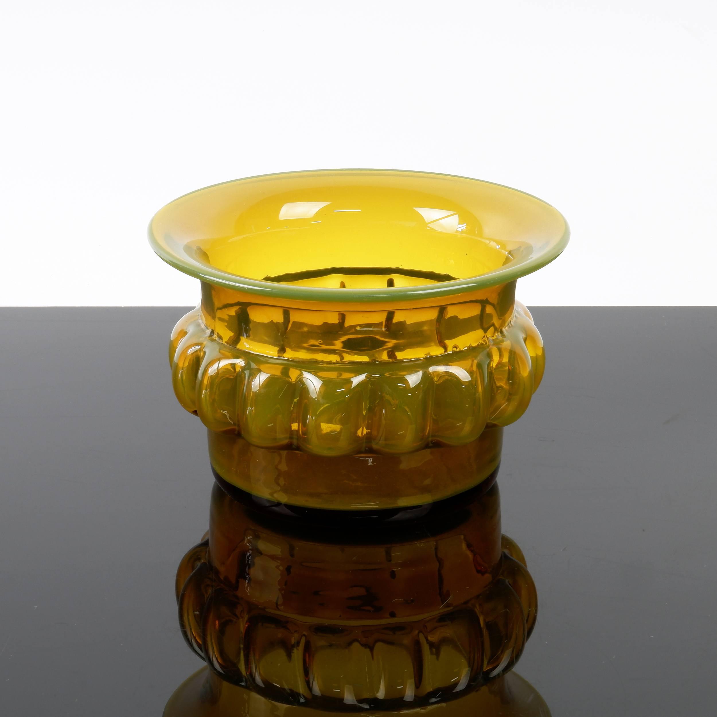 'Graduated Amber Studio Glass Vase by Bertel Vallien for Kosta Boda'