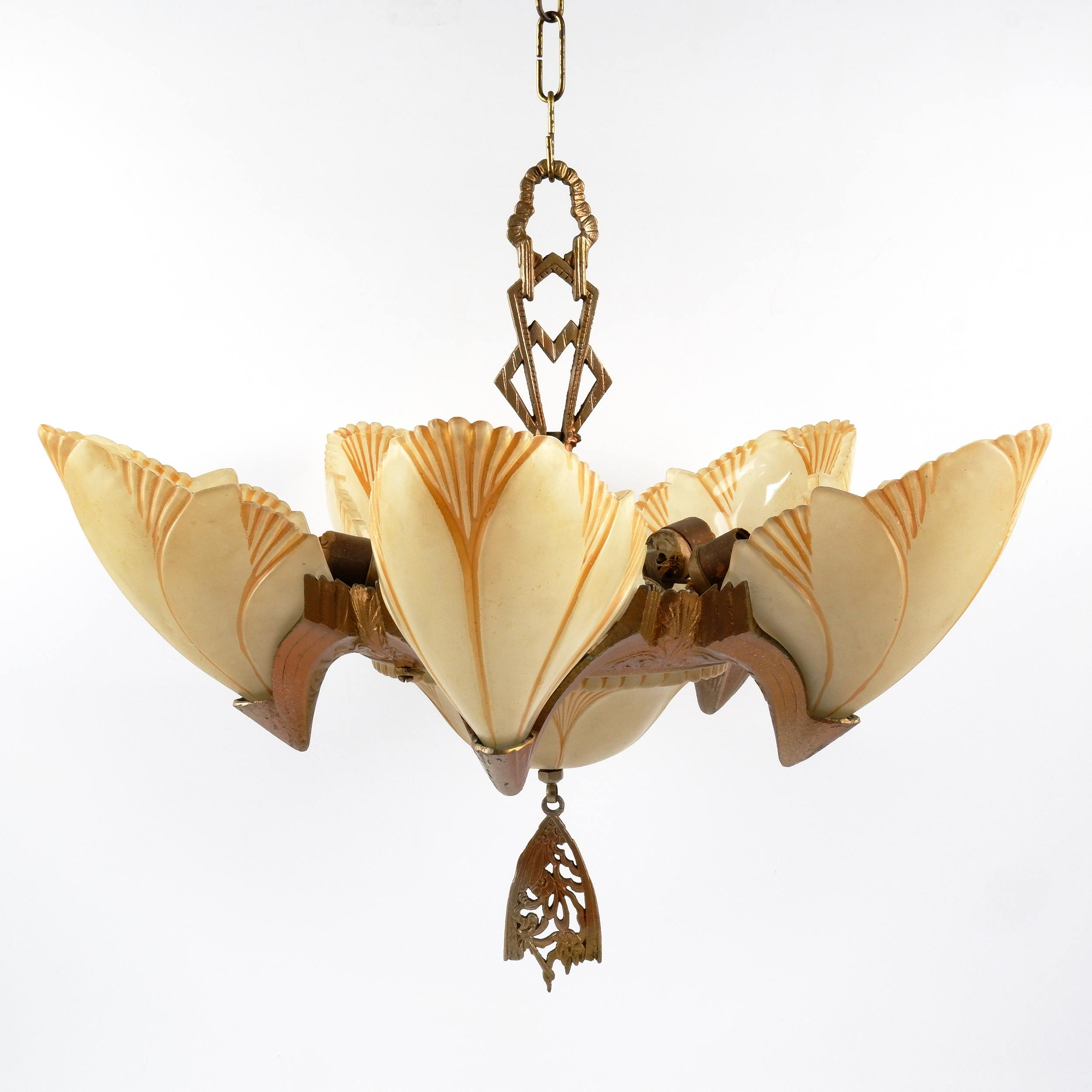 'Art Deco Patinated Metal Batwing Pendant Light Fitting with Five Slipper Glass Shades, Circa 1930s'