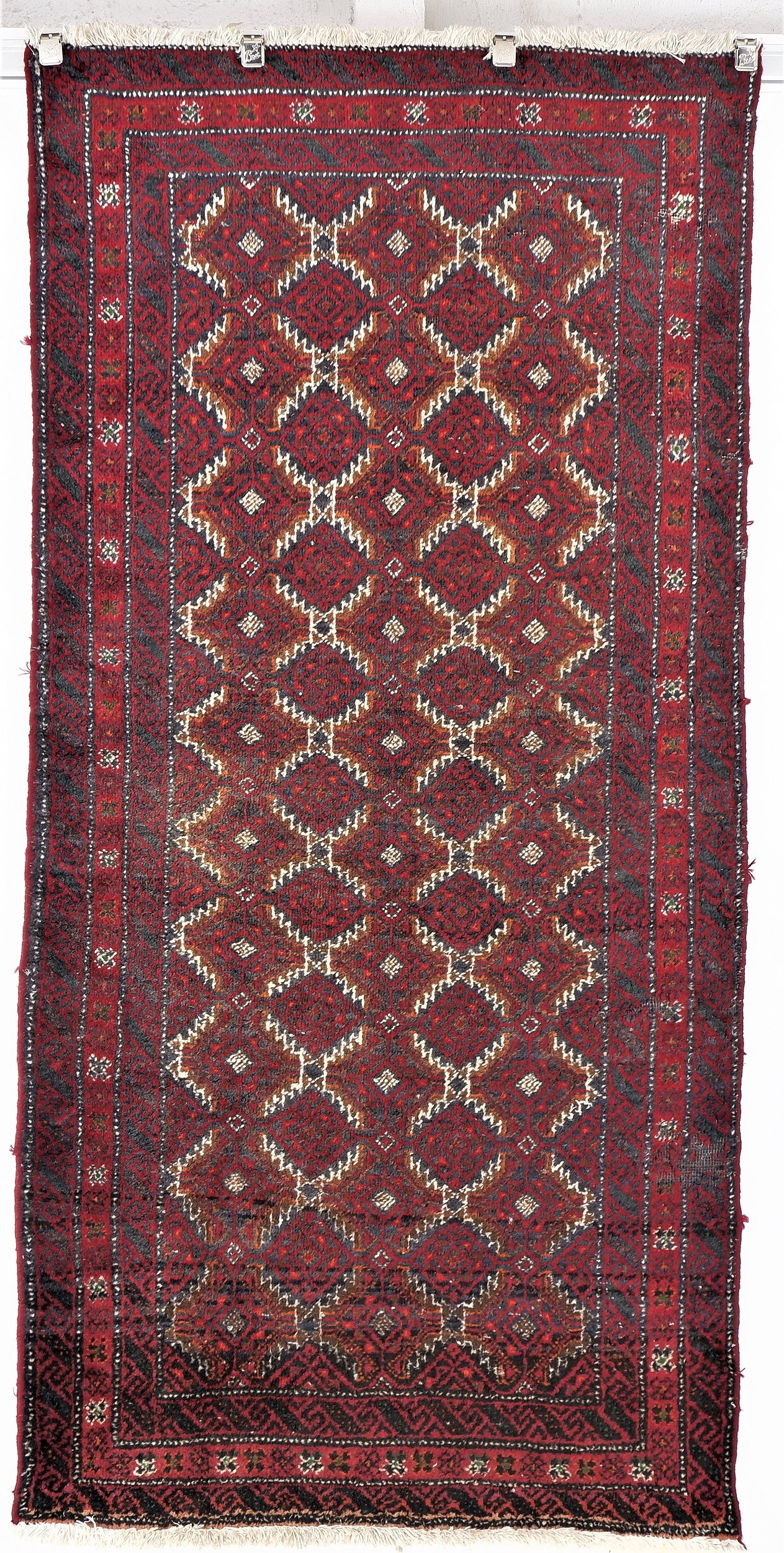 'Vintage Persian Baluchi Hand Knotted Wool Rug '