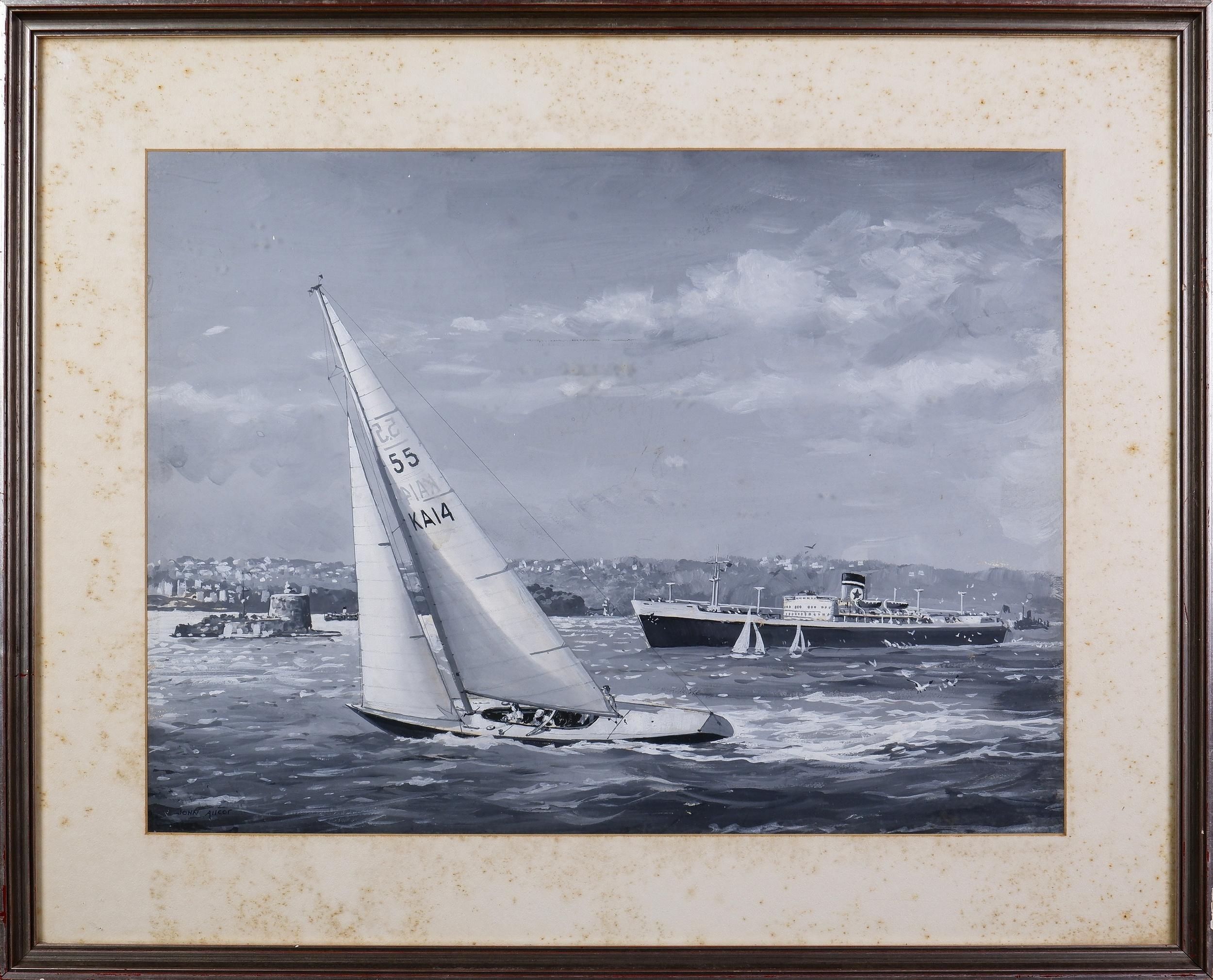 'John Allcot (1888-1973), Untitled (Sydney Harbour), Gouache on Paper, 37.5 x 50 cm'
