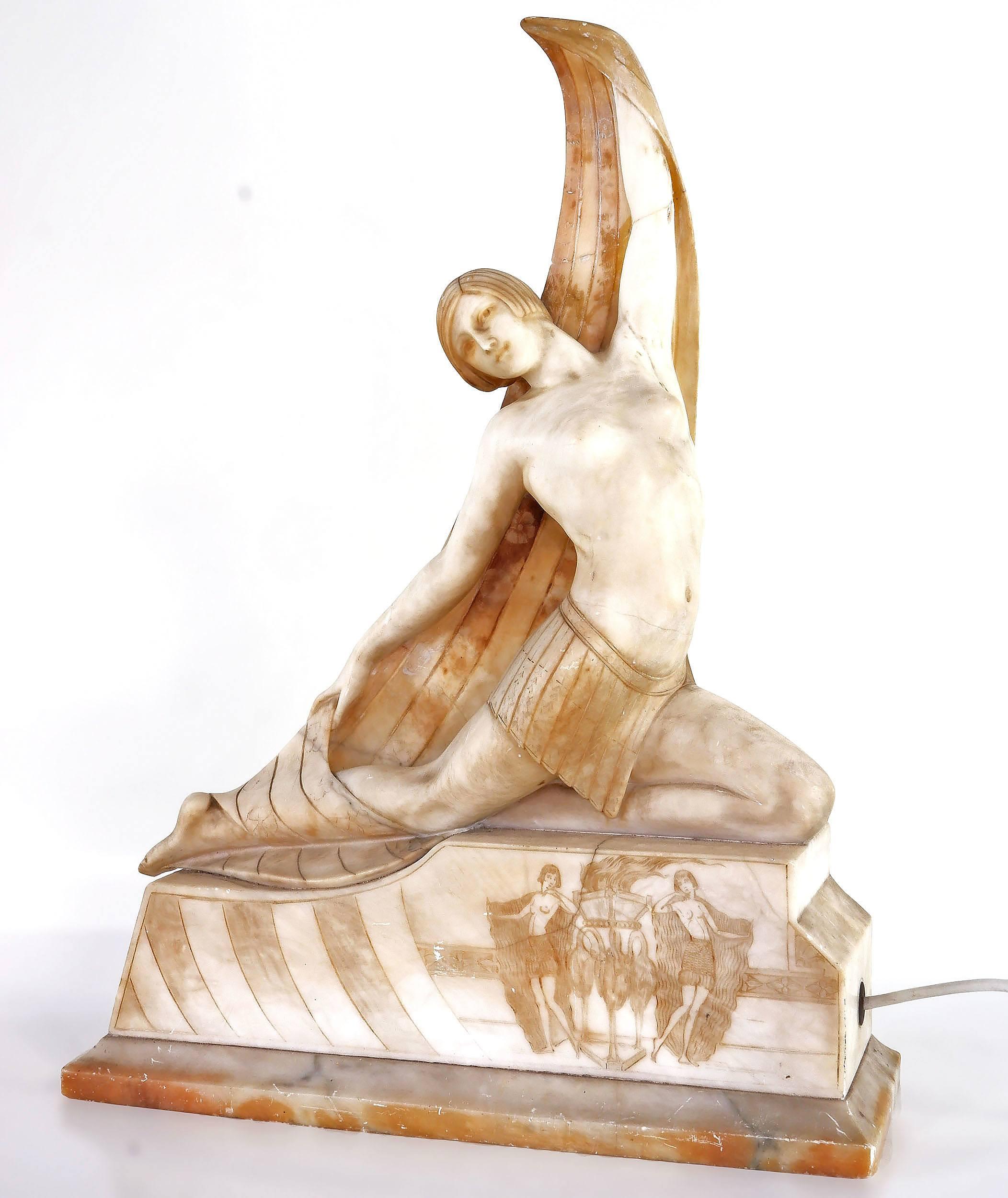 'Large Italian Art Deco Egyptian Revival Alabaster Lamp Circa 1920s'