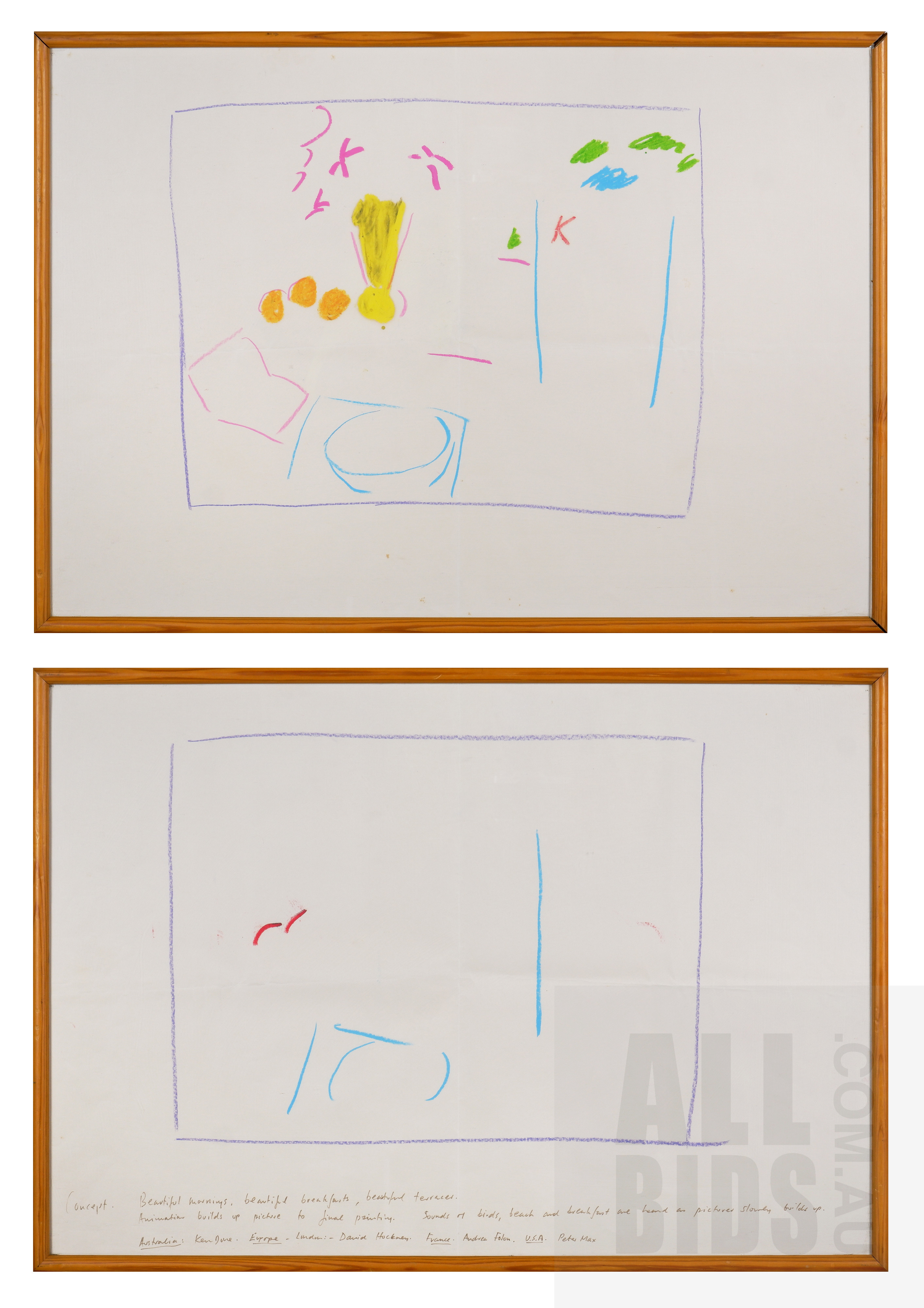 'Ken Done (born 1940), Pair of Concept Studies, Pastel on Paper, each 40.5 x 58 cm (2)'