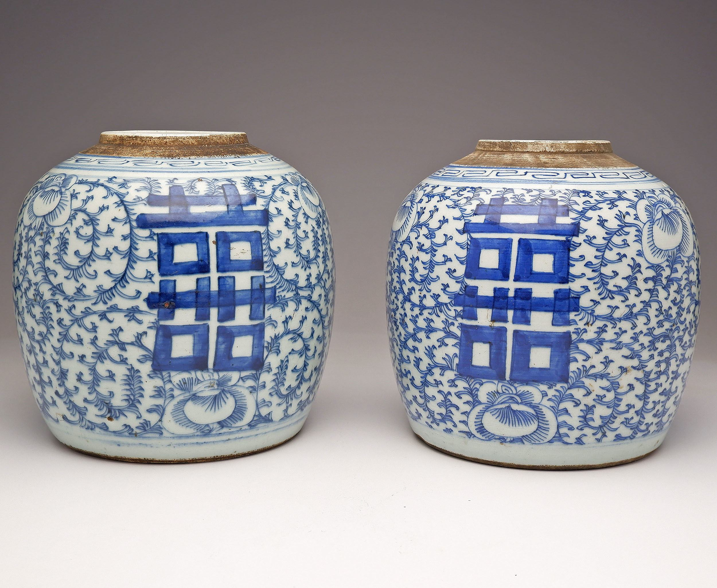 'Pair of Chinese Blue and White Jars Decorated with Peony Scrolls and Double Happiness, Late Qing'