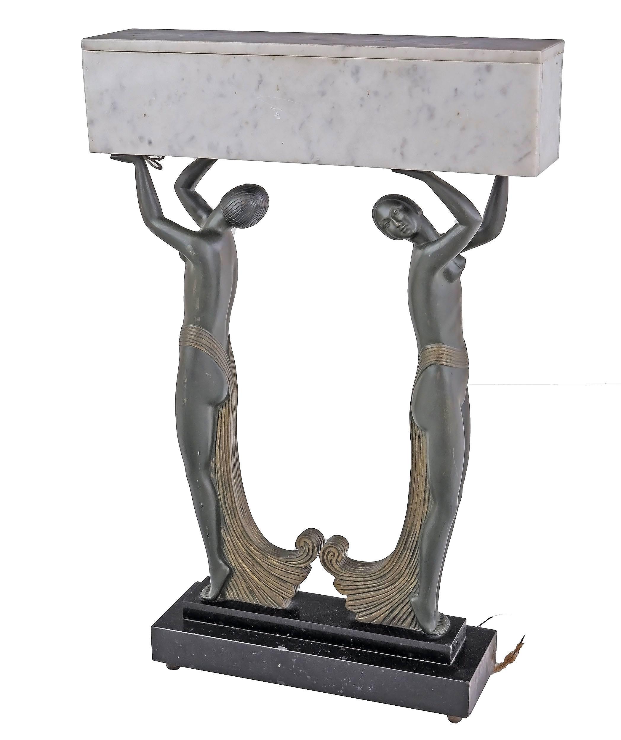'Impressive Art Deco Bronze and Marble Lamp Circa 1920s'