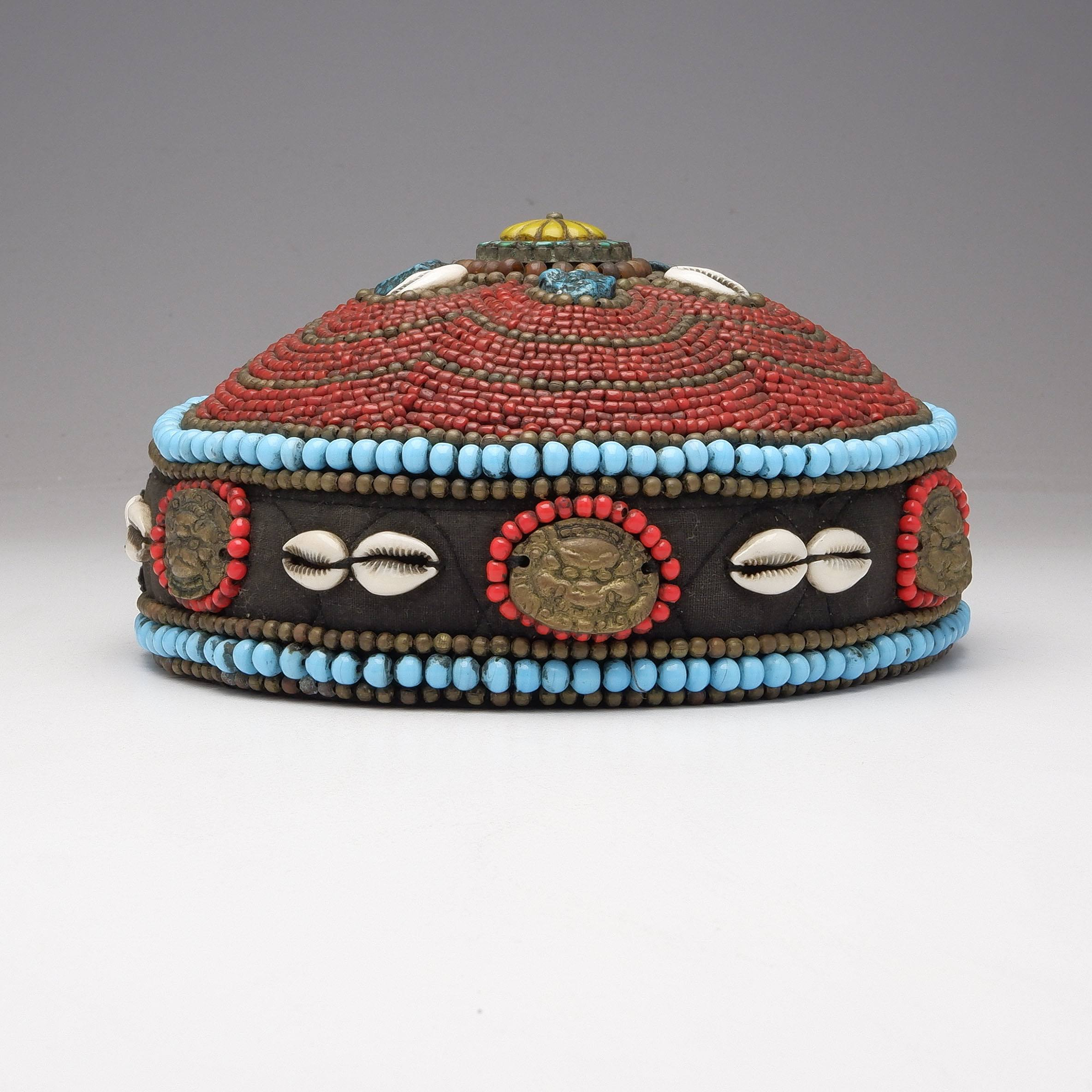 'Tibetan Turquoise and Coral Beaded Priests Hat'