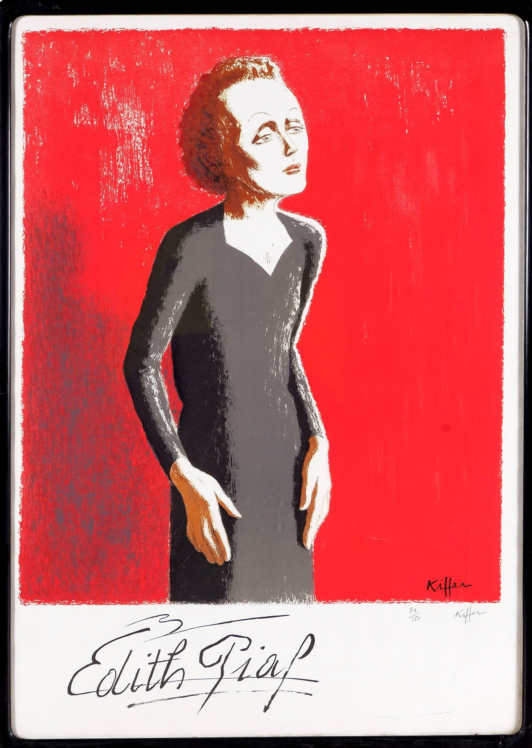 'Charles Kiffer (French 1902-1992) Edith Piaf, Lithograph Edition 79/150'