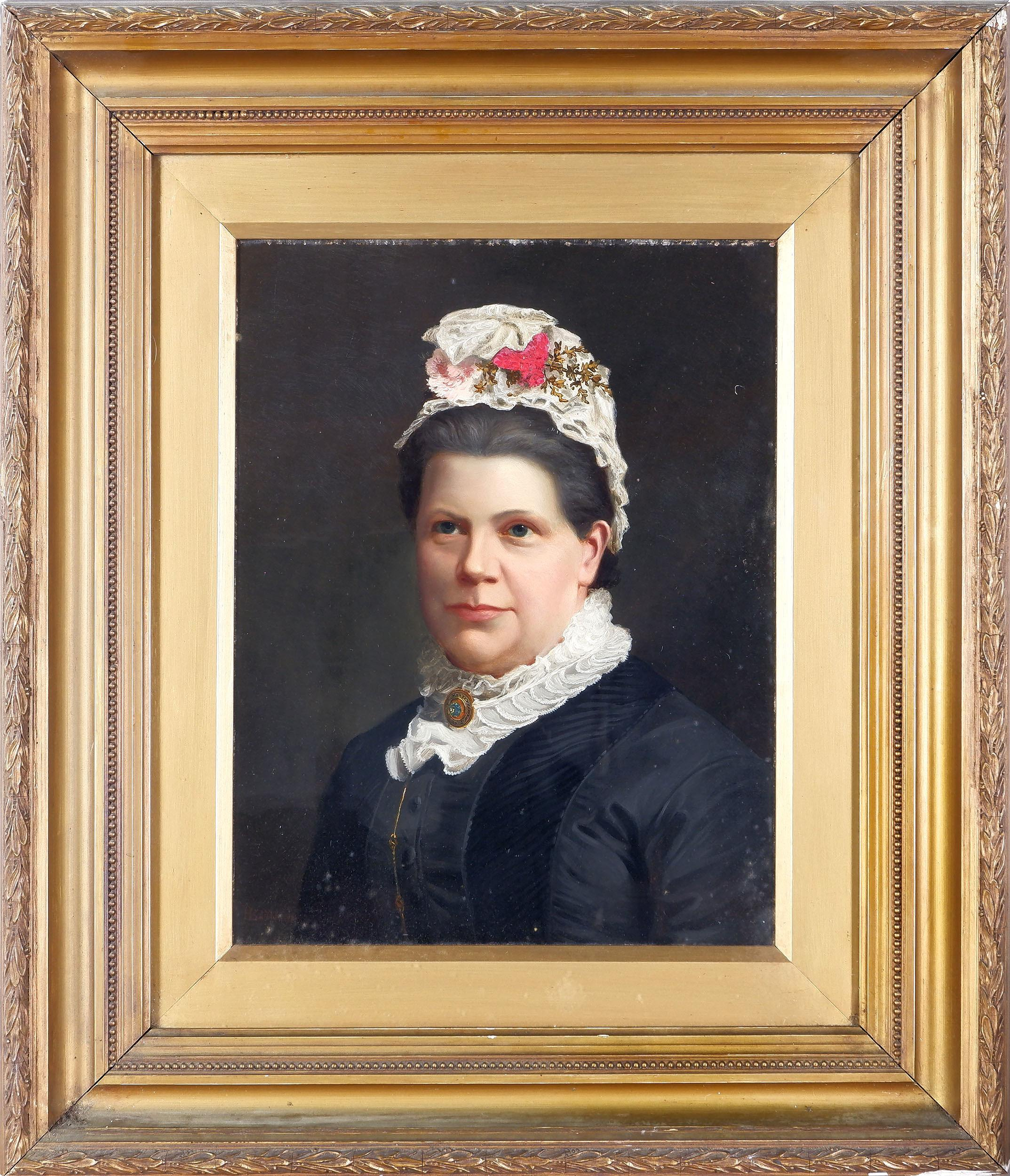 'H Baynton (19th C) Portrait of a Woman, Oil on Board'