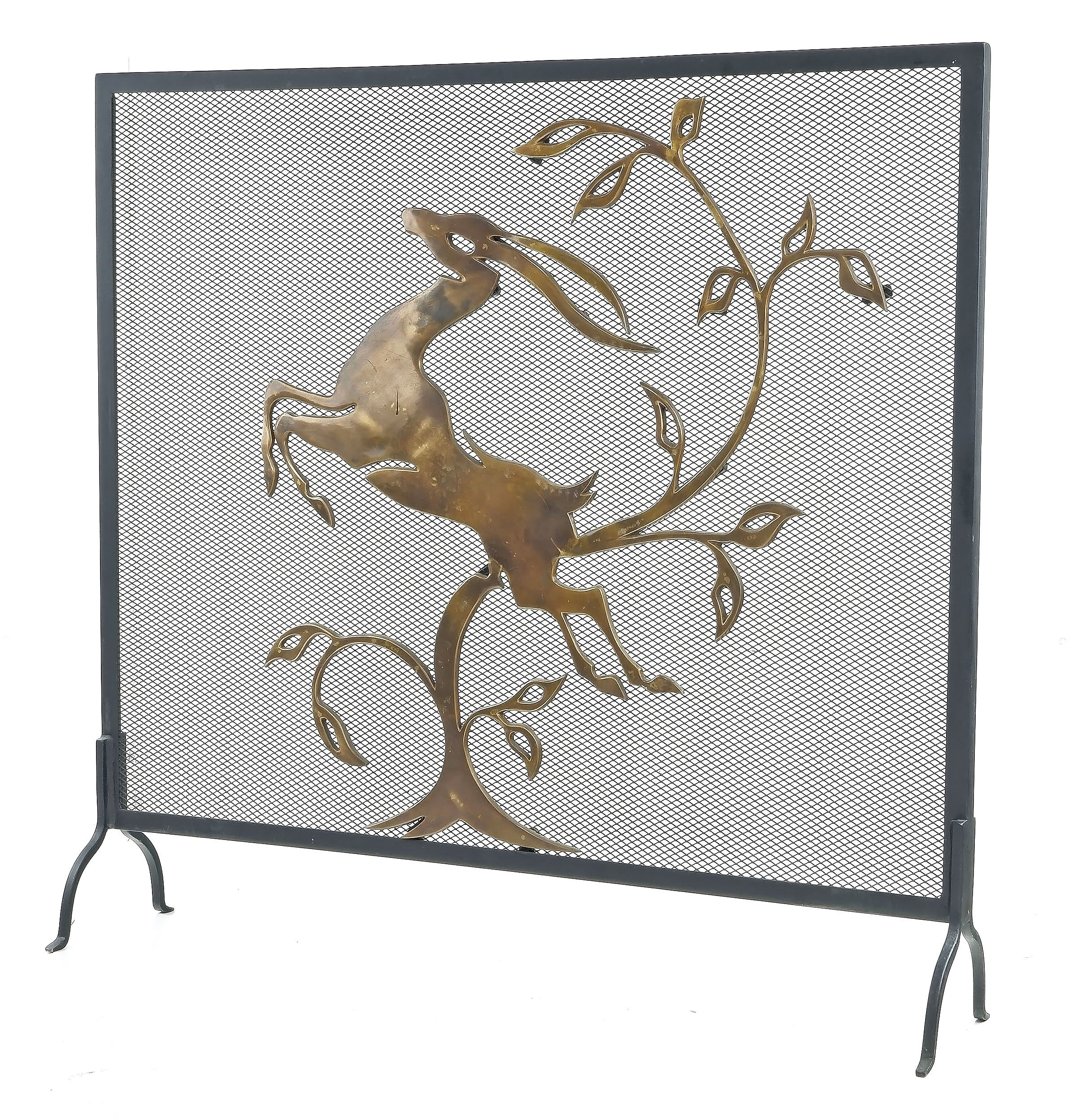 'Art Deco Style Fire Screen with Cast Brass Leaping Gazelle'