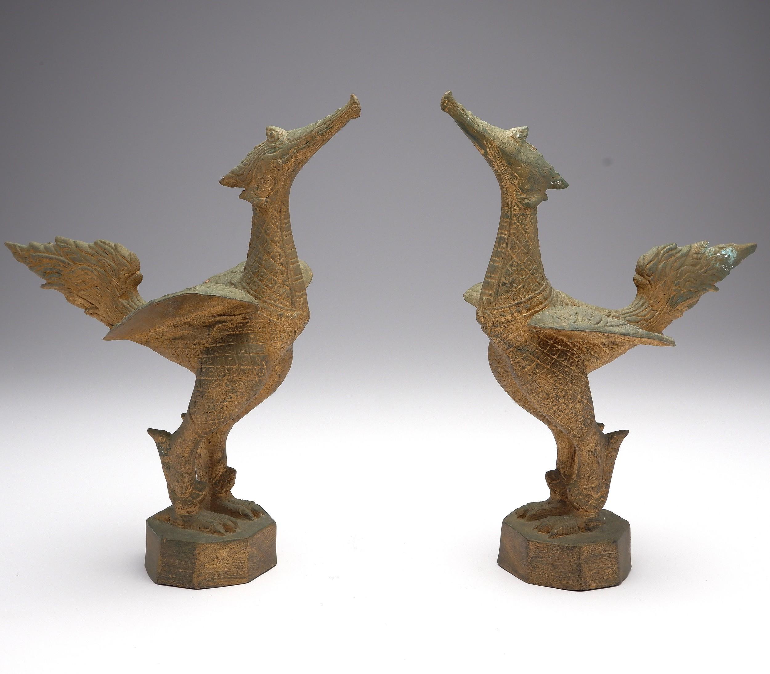 'Pair of Thai Gilt Brass/Bronze Mythical Suppanahong Bird Figures'