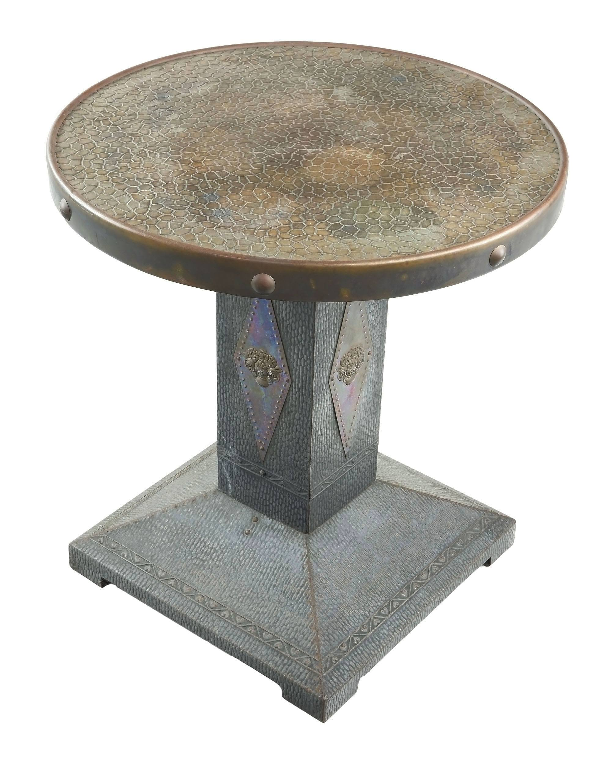'Arts and Crafts Pressed Copper and Brass Pedestal Side Table, Circa 1920s'