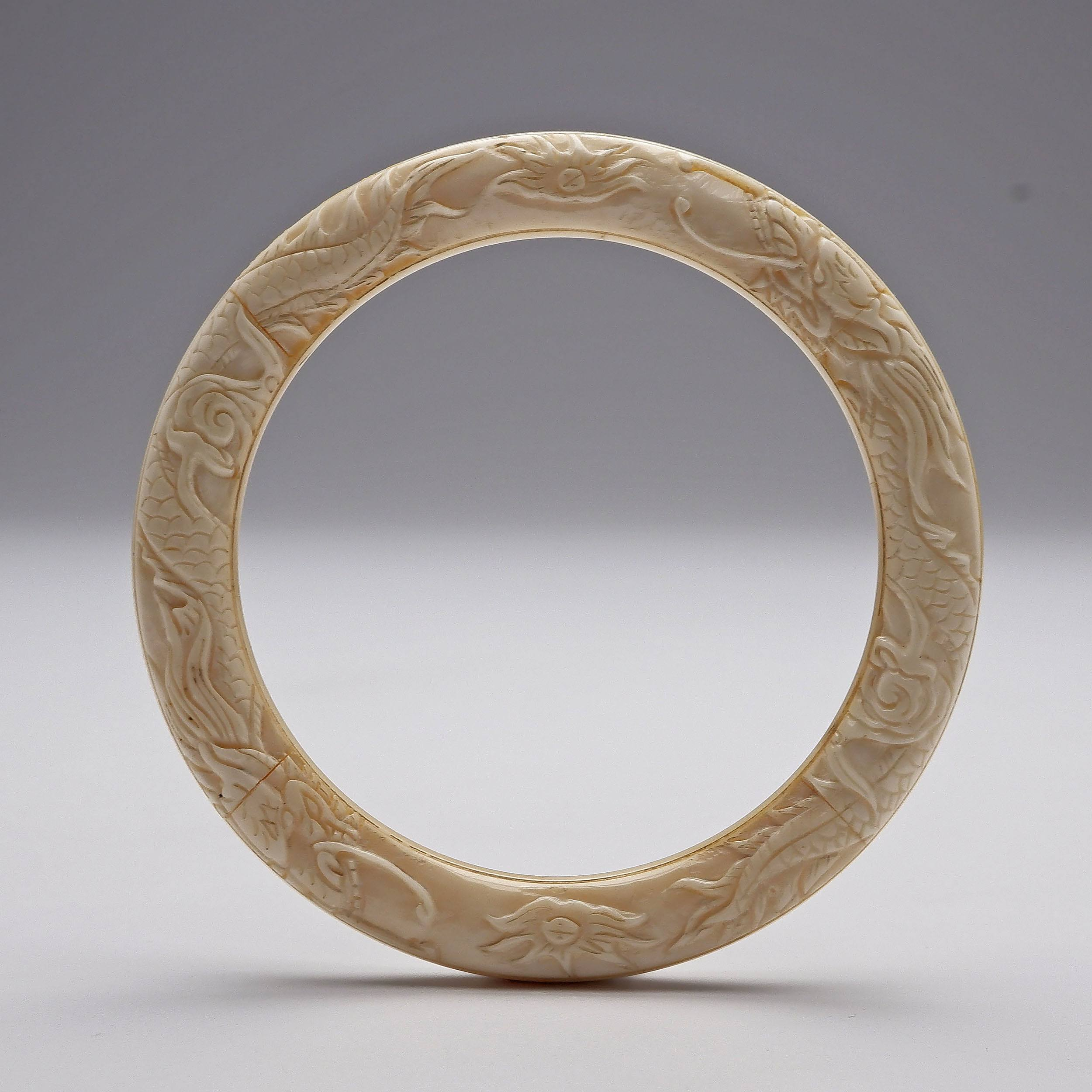'Antique Chinese Carved Ivory Dragon Bracelet'