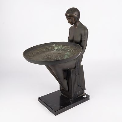 Max Le Verrier (French 1891-1973) Attributed, Large Art Deco Bronze Figural Dish or Card Tray on a Black Marble Socle