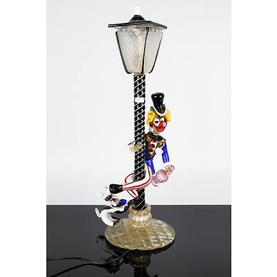 Superb Italian Murano Glass Lamp of a Clown Swirling on a Light Pole with a Dog at His Feet
