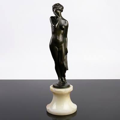 Josef Lorenzl (Austrian 1892-1950) Naked Maiden, Bronze on an Onyx Socle