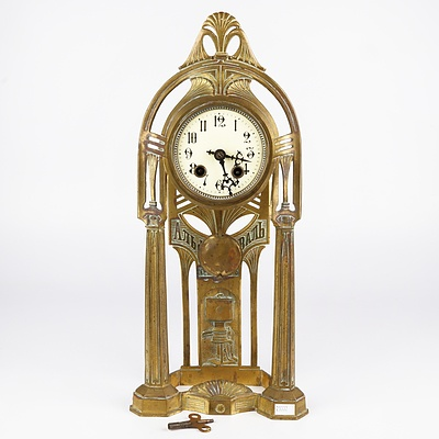 Russian Art Nouveau Cast Brass Mantle Clock, Early 20th Century