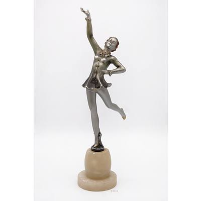Attributed to Josef Lorenzl (Austrian 1892-1950) Unsigned Art Deco Cold Painted Bronze Figure of a Dancer on an Alabaster Socle, Circa 1920s