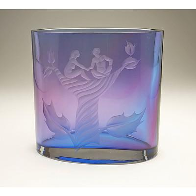Large Orrefors Exhibition Quality Glass Vase by Olle Alberius