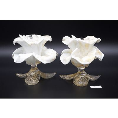 Pair of Vintage Murano Glass Flower Candle Holders with Cased Gold Fleck