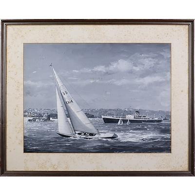 John Allcot (1888-1973), Untitled (Sydney Harbour), Gouache on Paper, 37.5 x 50 cm